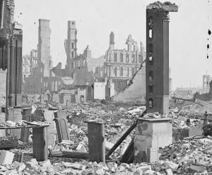 View from the Southwest Corner of Dearborn and Monroe after the fire, 1871. Image credit: Jex Bardwell. Click image to view photo gallery.
