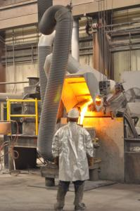 Excel's foundry melts bronze, manganese steel, iron, copper, and nickel. / Michael Lipkin