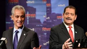 "Rahm Emanuel and Jesús ""Chuy"" García in post-forum news conference; credit: Bill Richert"