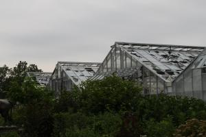 Propagation Greenhouses damaged by hail storm. Image Credit: Garfield Park Conservatory Alliance.