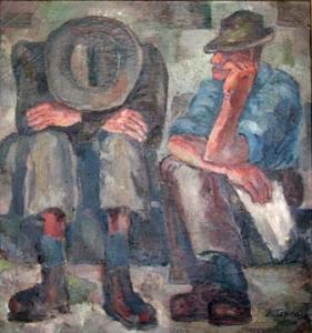 Morris Topchevsky, Unemployed, 1934, Oil on canvas, 30 x 28 in., Private Collection.