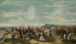 Fort Dearborn Massacre painting; Artist – Samuel Page; photo courtesy of Chicago History Museum