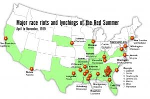 Map of Red Summer riots and lynchings. Click image to view photo gallery.