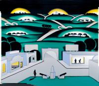 "Roger Brown, See Seven Cities, 1971, oil on canvas, 47 ½""  x 59 ¼"". Click image to view photo gallery."