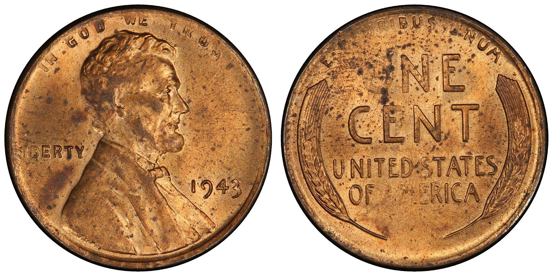 Lincoln cents were only supposed to be made of zinc-coated steel in 1943 because copper was needed for World War II efforts. But a few pennies were mistakenly made with a bronze alloy. The finest known surviving example, which sold for  million last year, will be publicly displayed at the 2019 World's Fair of Money in Rosemont. (Photo credit: American Numismatic Association)