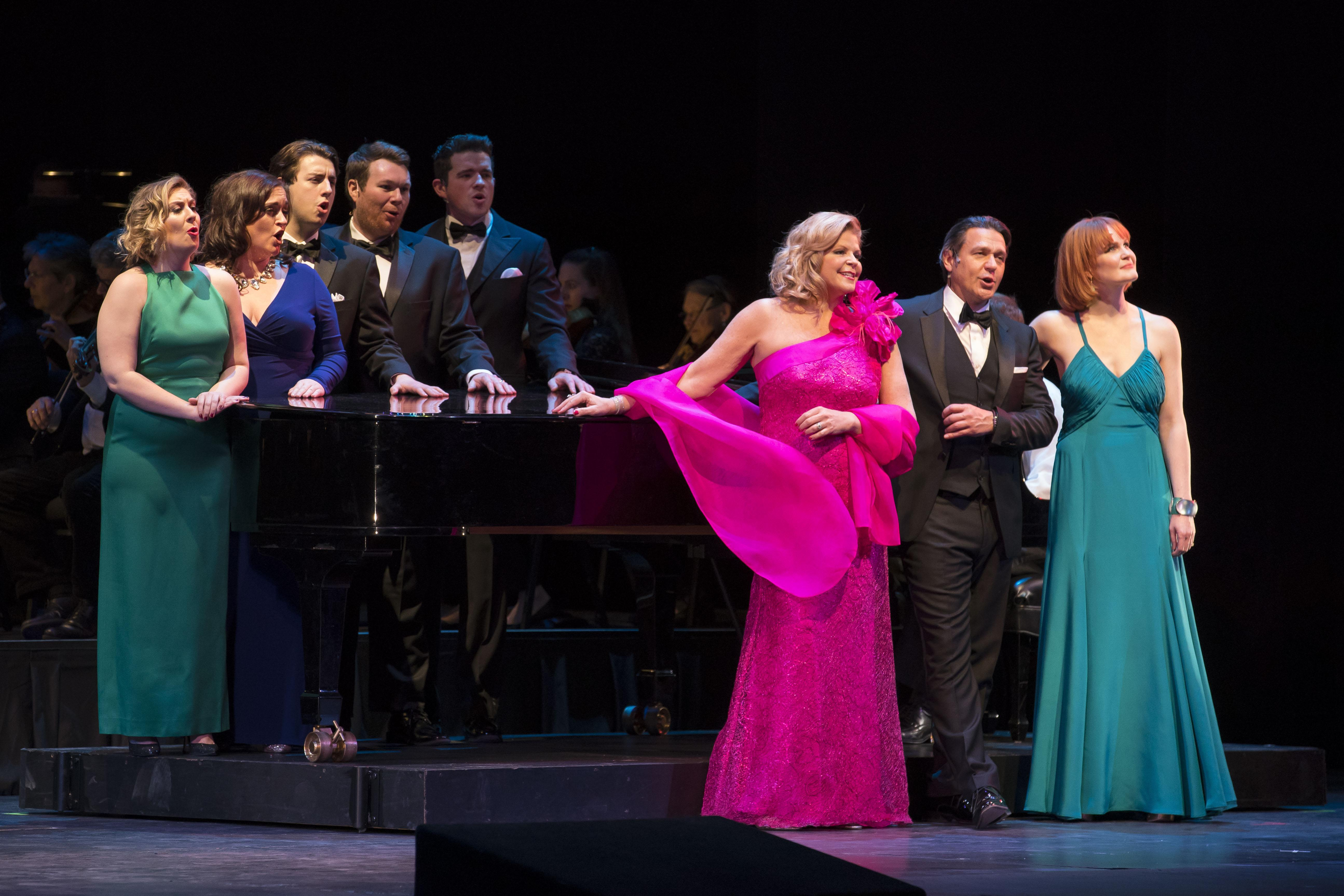 "From left: Diana Newman, Ann Toomey, Josh Lovell, Alan Higgs, Emmett O'Hanlon, Susan Graham, Nathan Gunn and Kate Baldwin in ""Celebrating 100 Years of Bernstein"" (Credit: Todd Rosenberg)"