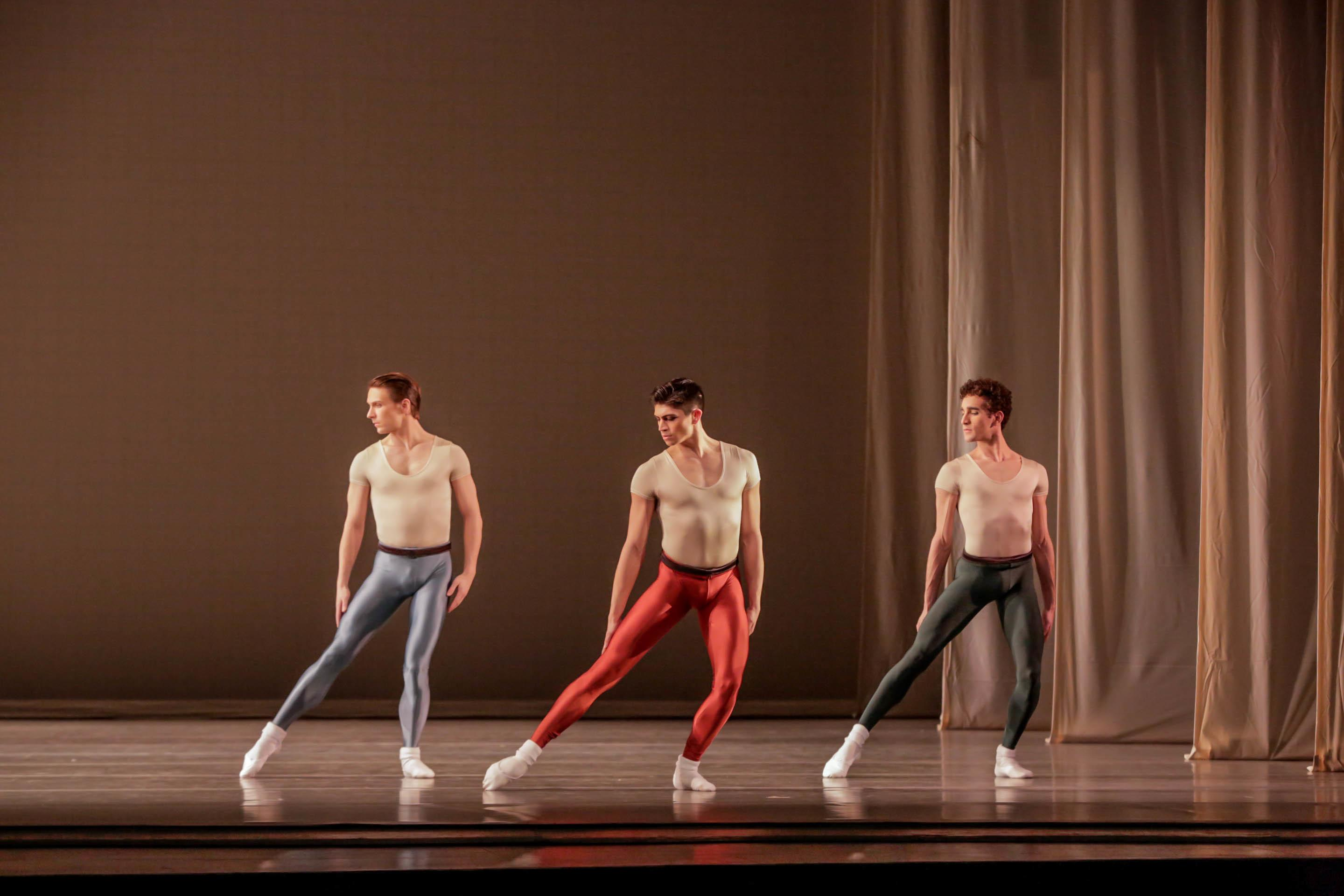 "Dancers Graham Maverick, Aaron Renteria and Edson Barbosa in ""Glass Pieces."" (Photo by Cheryl Mann)"