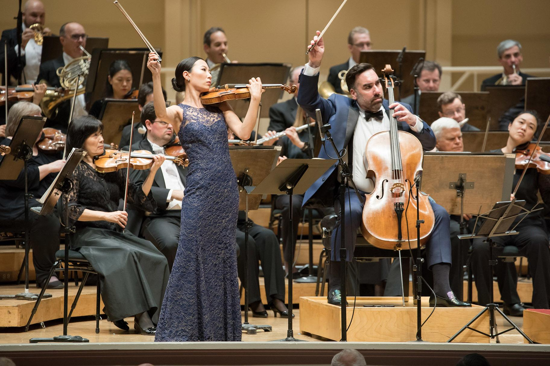 Associate Concertmaster Stephanie Jeong (left) and Assistant Principal Cello Kenneth Olsen (left) perform the Brahms Double Concerto with the Chicago Symphony Orchestra at Symphony Center on Nov. 7, 2019. (Credit: Anne Ryan)