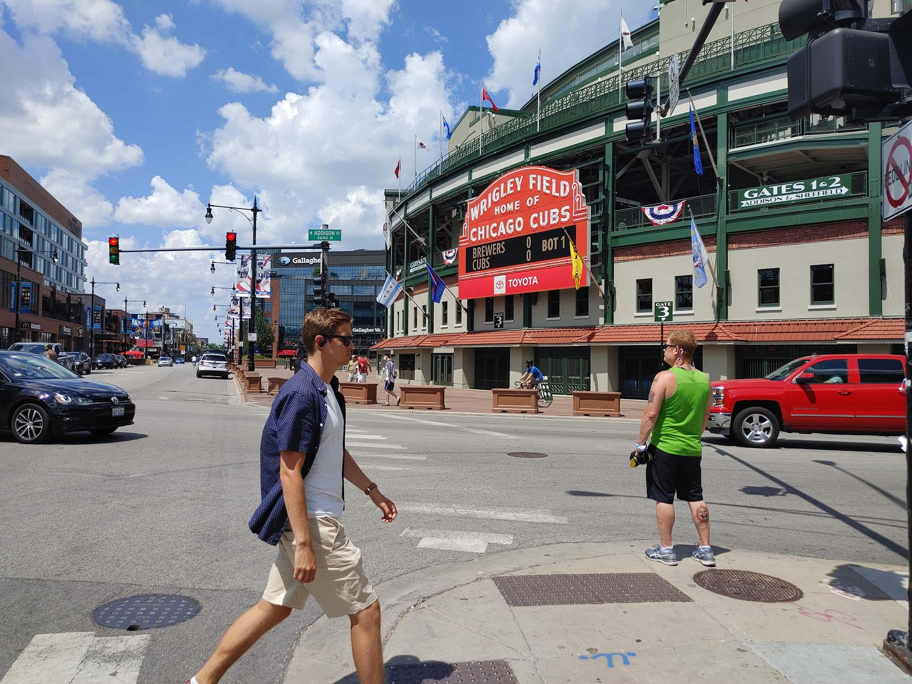 Game day in Wrigleyville on Sunday, July 26, 2020. (Erica Gunderson / WTTW News)