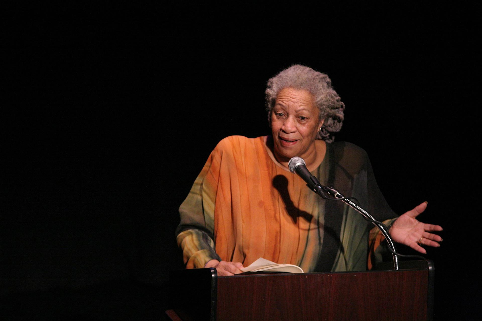 "Toni Morrison speaks Feb. 26, 2008 at ""A Tribute to Chinua Achebe - 50 Years Anniversary of 'Things Fall Apart"" at The Town Hall in New York City. (Angela Radulescu / Wikimedia Commons)"