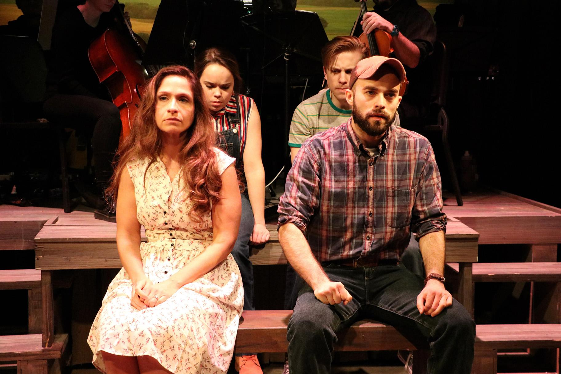 "A scene from ""The Bridges of Madison County"" at Theo Ubique Cabaret Theatre. Front: Kelli Harrington, left, and Carl Herzog. Back: Peyton Shaffer, left, and Christopher Ratliff. (Photo by Cody Jolly Photography)"
