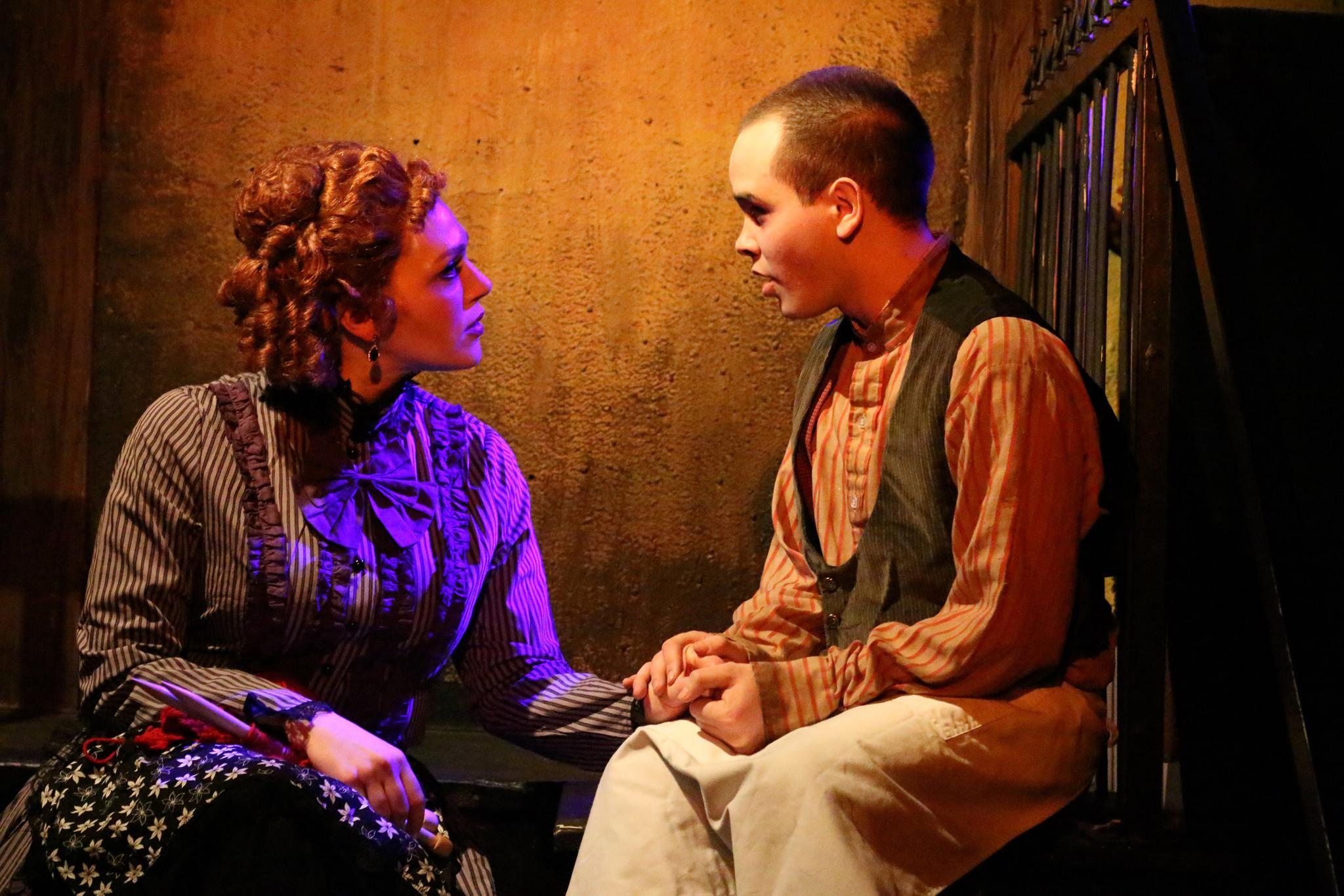 Jacquelyne Jones as Mrs. Lovett and Frankie Leo Bennett as Tobias Ragg (Credit: Cody Jolly Photography)
