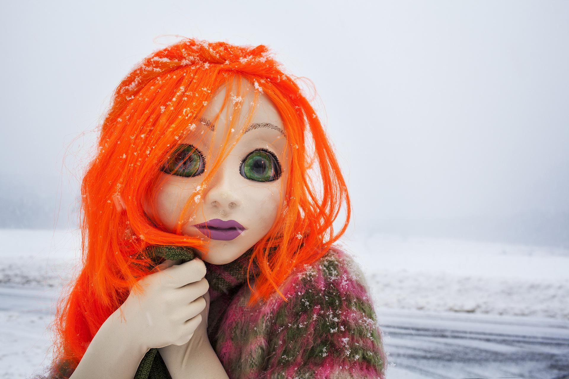 Laurie Simmons, Orange Hair/Snow/Close Up, 2014. Photo: © Laurie Simmons, courtesy of the artist and Salon 94.