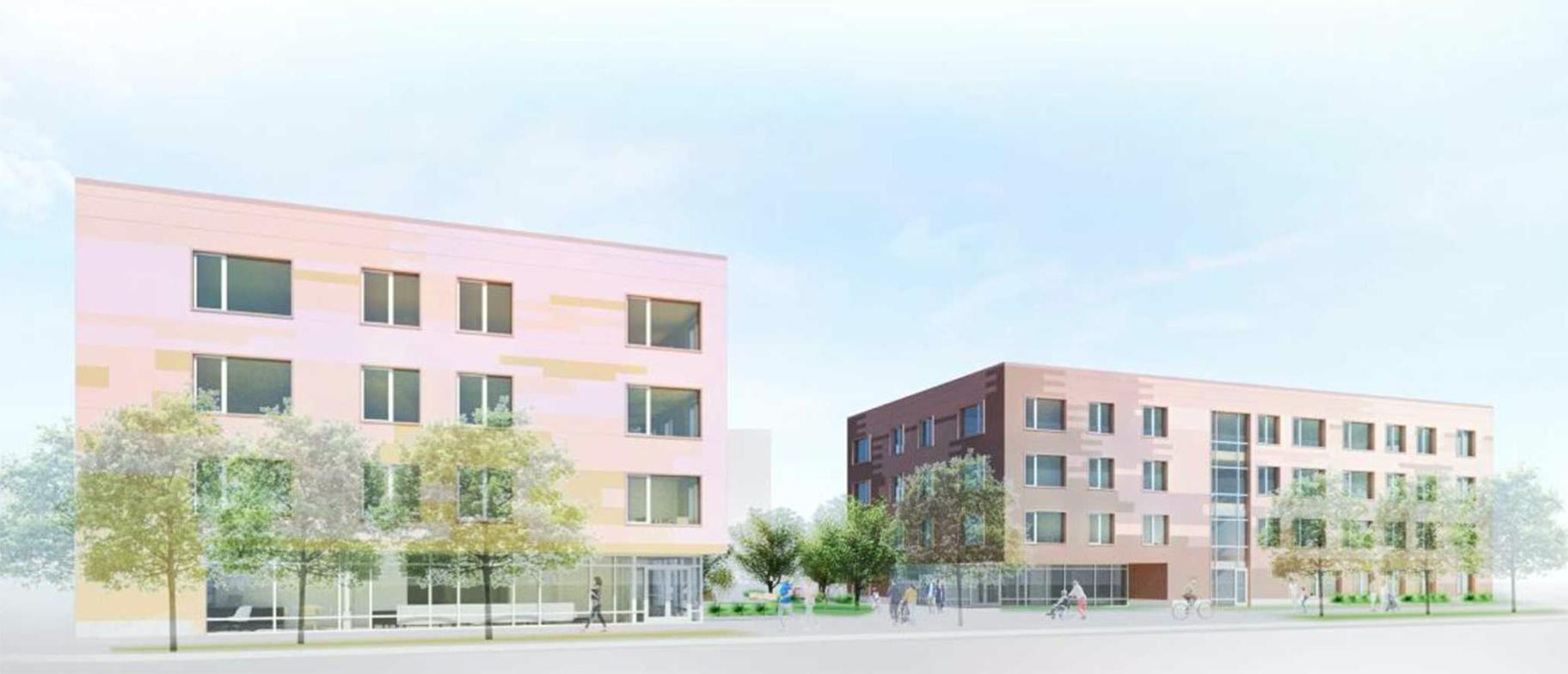 A rendering of the proposed apartment complex near Lawrence and Austin avenues in Jefferson Park. (Credit: Canopy Chicago)