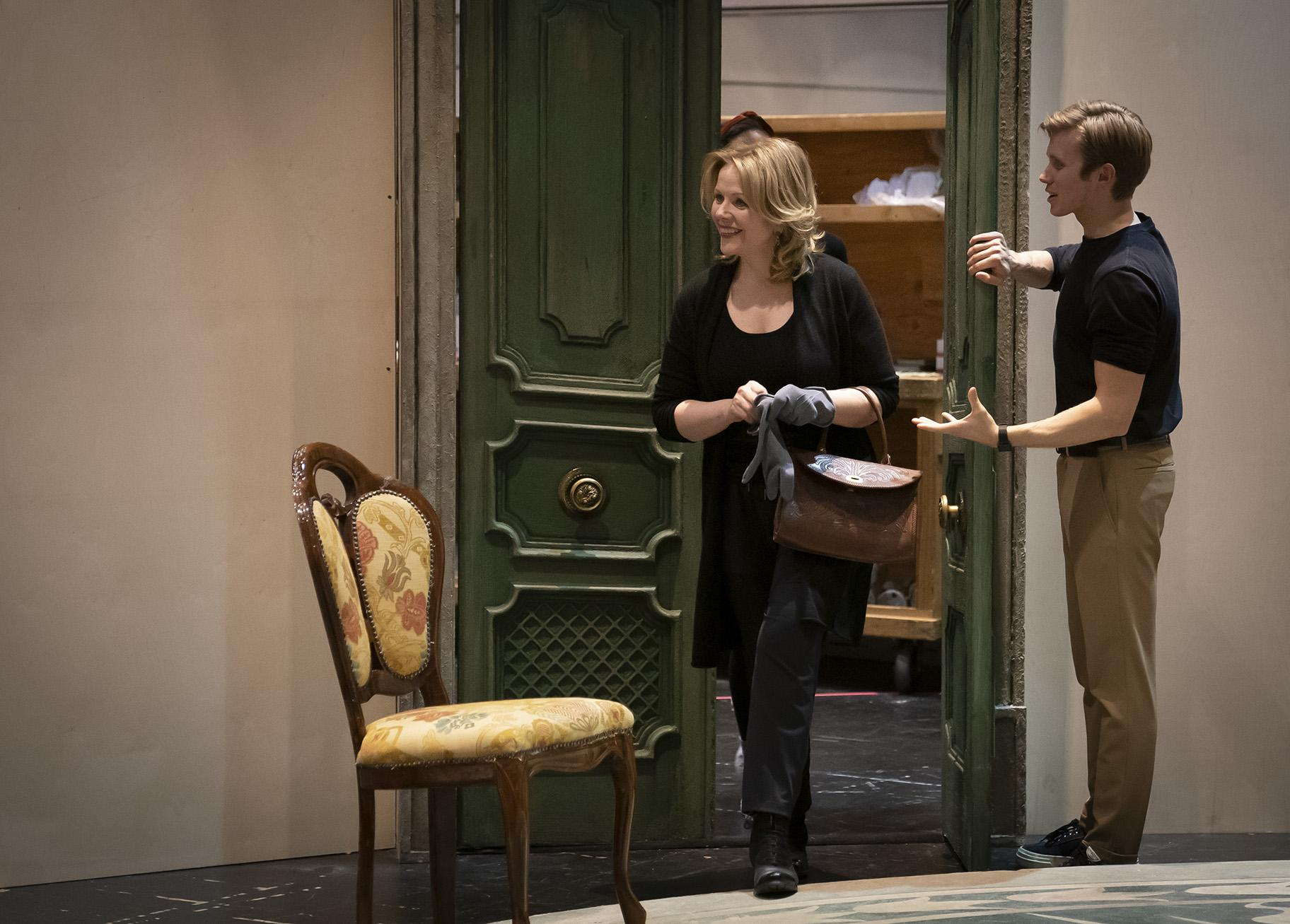 "Renée Fleming and Rob Houchen in rehearsal for the Scenario Two production of ""The Light in the Piazza"" at Lyric Opera House. (Photo by Liz Lauren)"