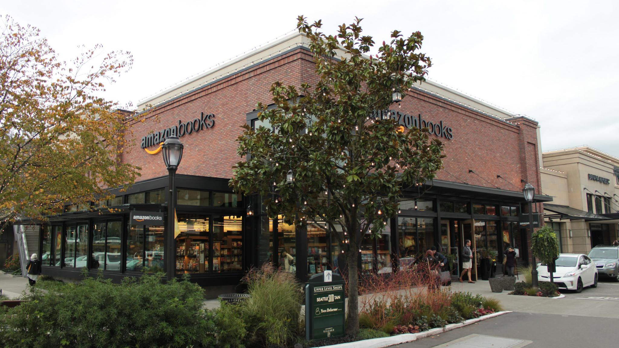 The Amazon Books retail store, the first physical outlet operated by online retailer Amazon.com, at the U Village shopping center in Seattle, Washington. (SounderBruce / Flickr)