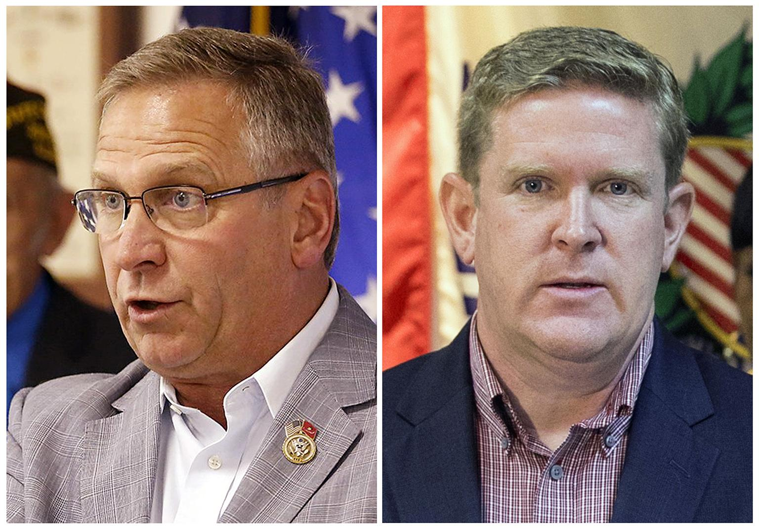 The candidates for Illinois' 12th District seat in the November 2018 election, from left: incumbent GOP Rep. Mike Bost, of Murphysboro; and Democrat Brendan Kelly, of Swansea. (Belleville News-Democrat via AP)