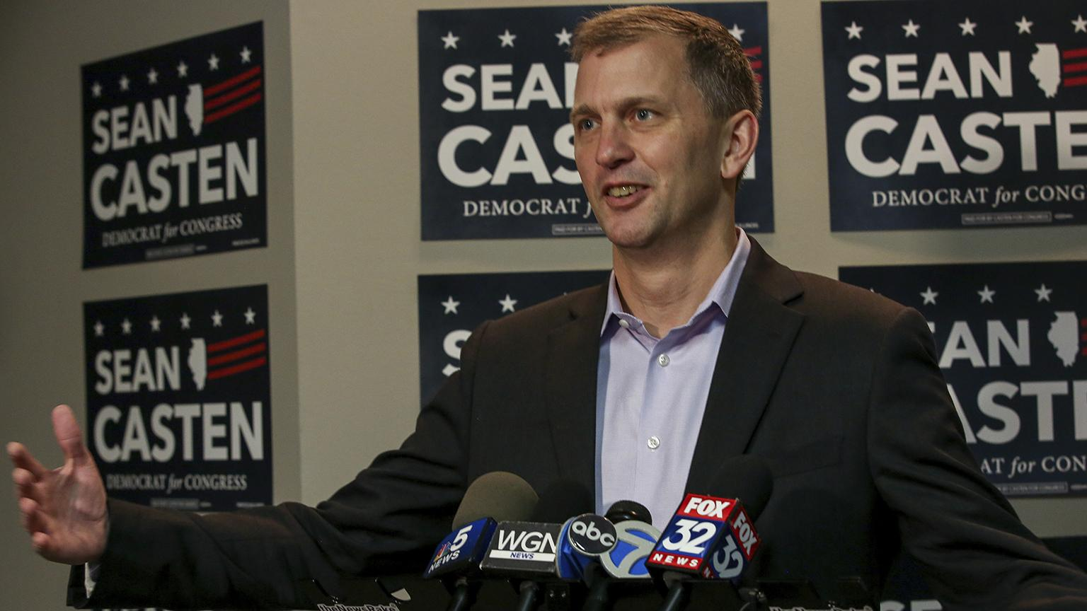 Sean Casten takes questions at a press conference Wednesday, Nov. 7, 2018 about his win in the election. (Bev Horne / Daily Herald via AP)