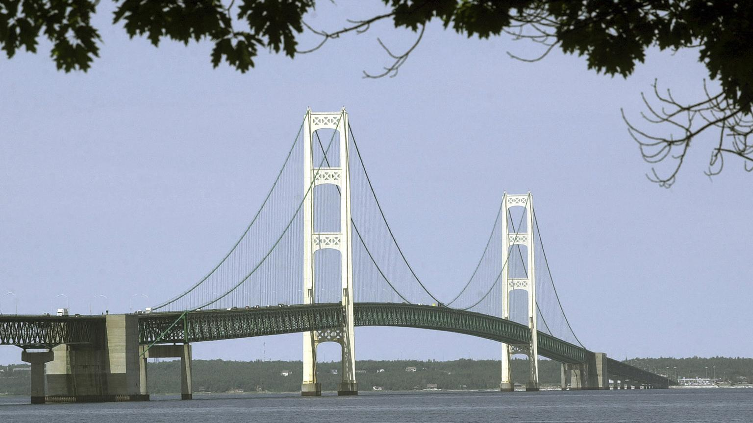 This July 19, 2002, file photo, shows the Mackinac Bridge that spans the Straits of Mackinac from Mackinaw City, Mich. (Carlos Osorio / AP File Photo)