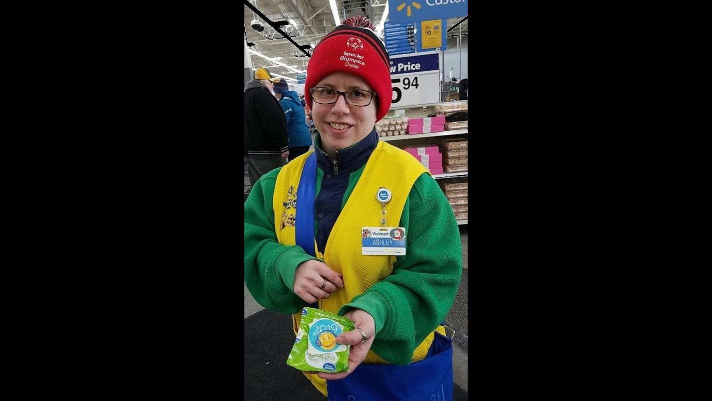 In this Feb. 21, 2019 photo provided by Tamara Ambrose, Ashley Powell poses for a photo at a Walmart store in Galena, Ill. (Tamara Ambrose via AP)