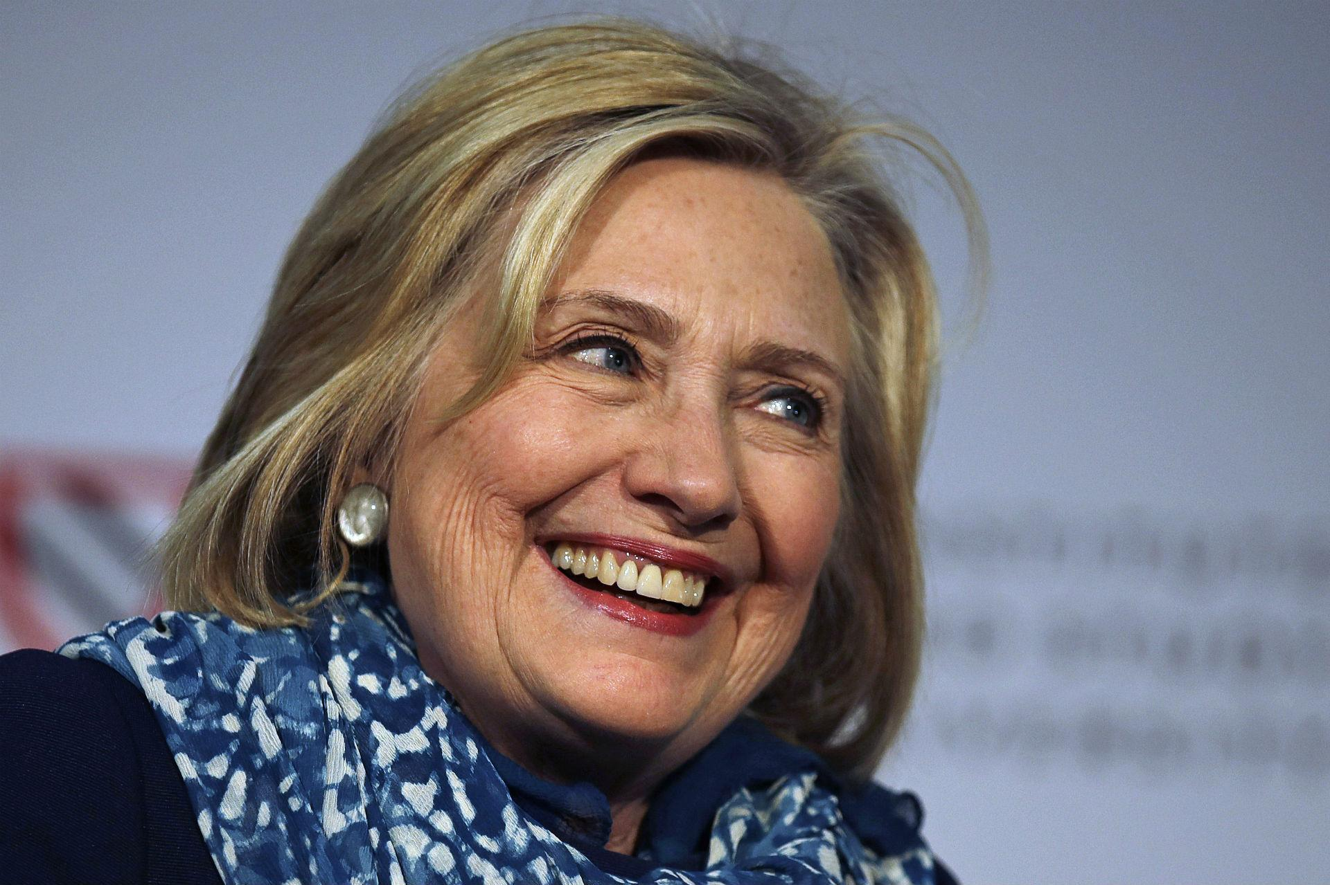 In this May 25, 2018 file photo, Hillary Clinton smiles as she is introduced at Harvard University in Cambridge, Massachusetts. (AP Photo / Charles Krupa)