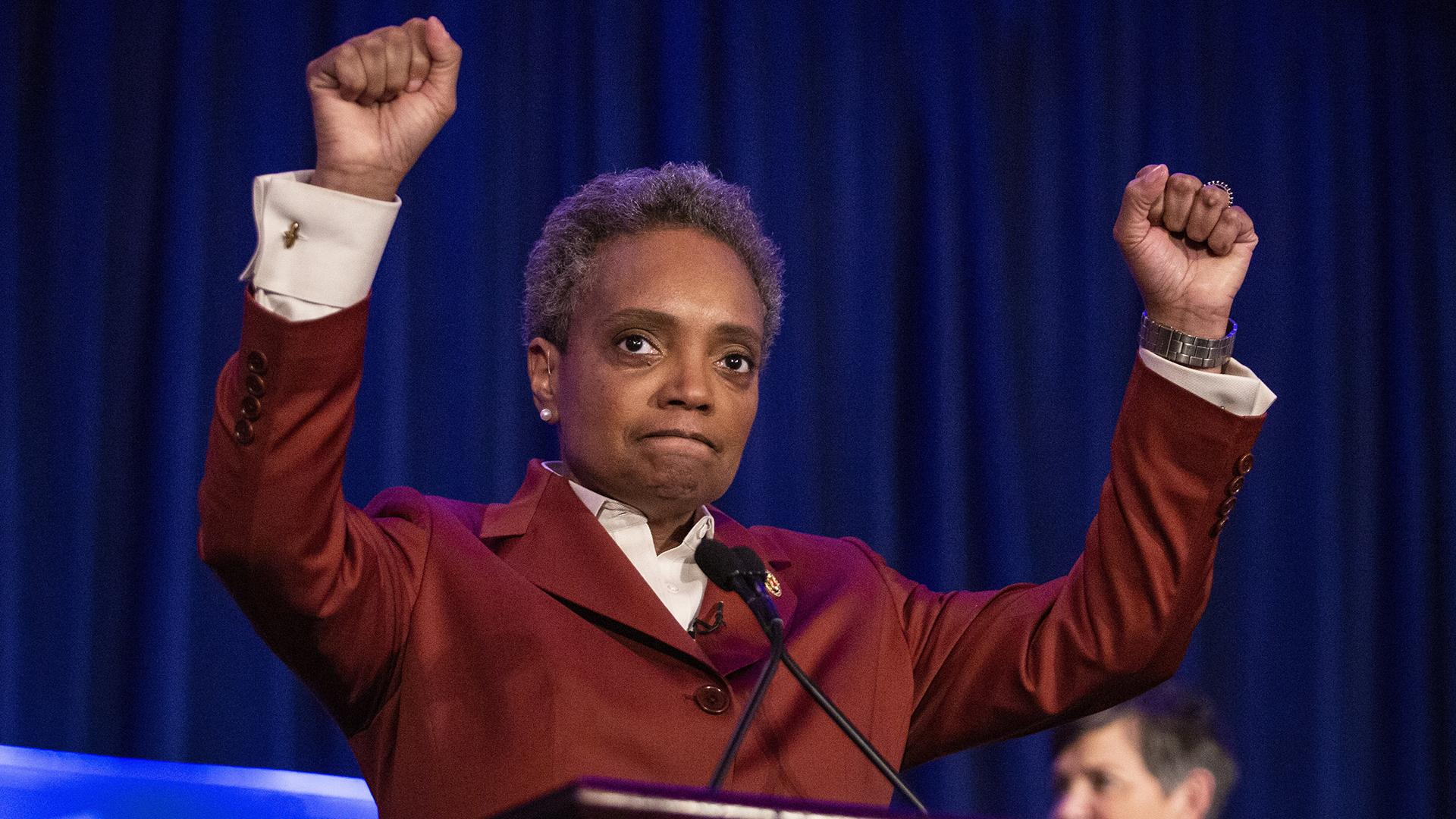 Lori Lightfoot celebrates at her election night rally at the Hilton Chicago after defeating Toni Preckwinkle in the Chicago mayoral election, Tuesday, April 2, 2019. (Ashlee Rezin / Chicago Sun-Times via AP)