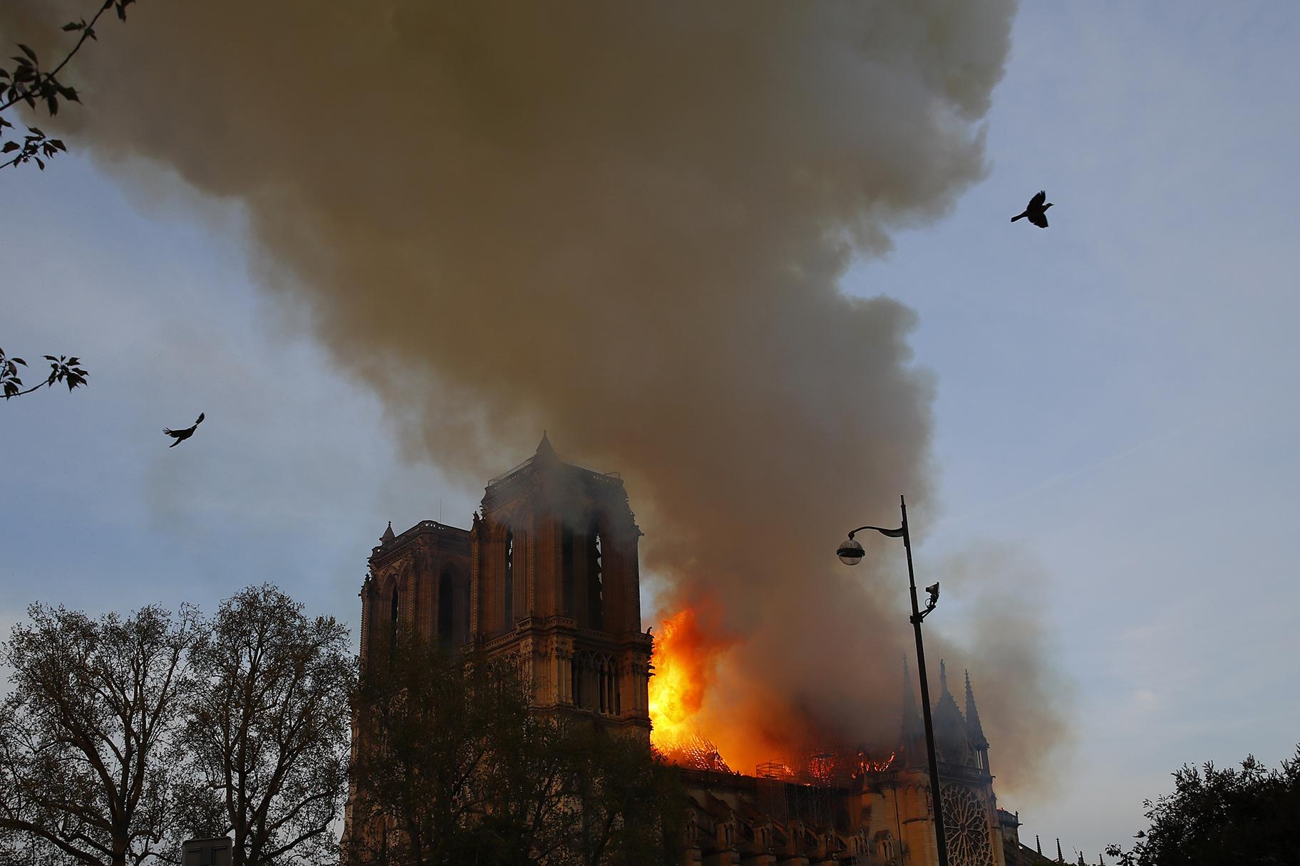 Notre Dame Cathedral is burning in Paris on Monday, April 15, 2019. (AP Photo / Francois Mori)