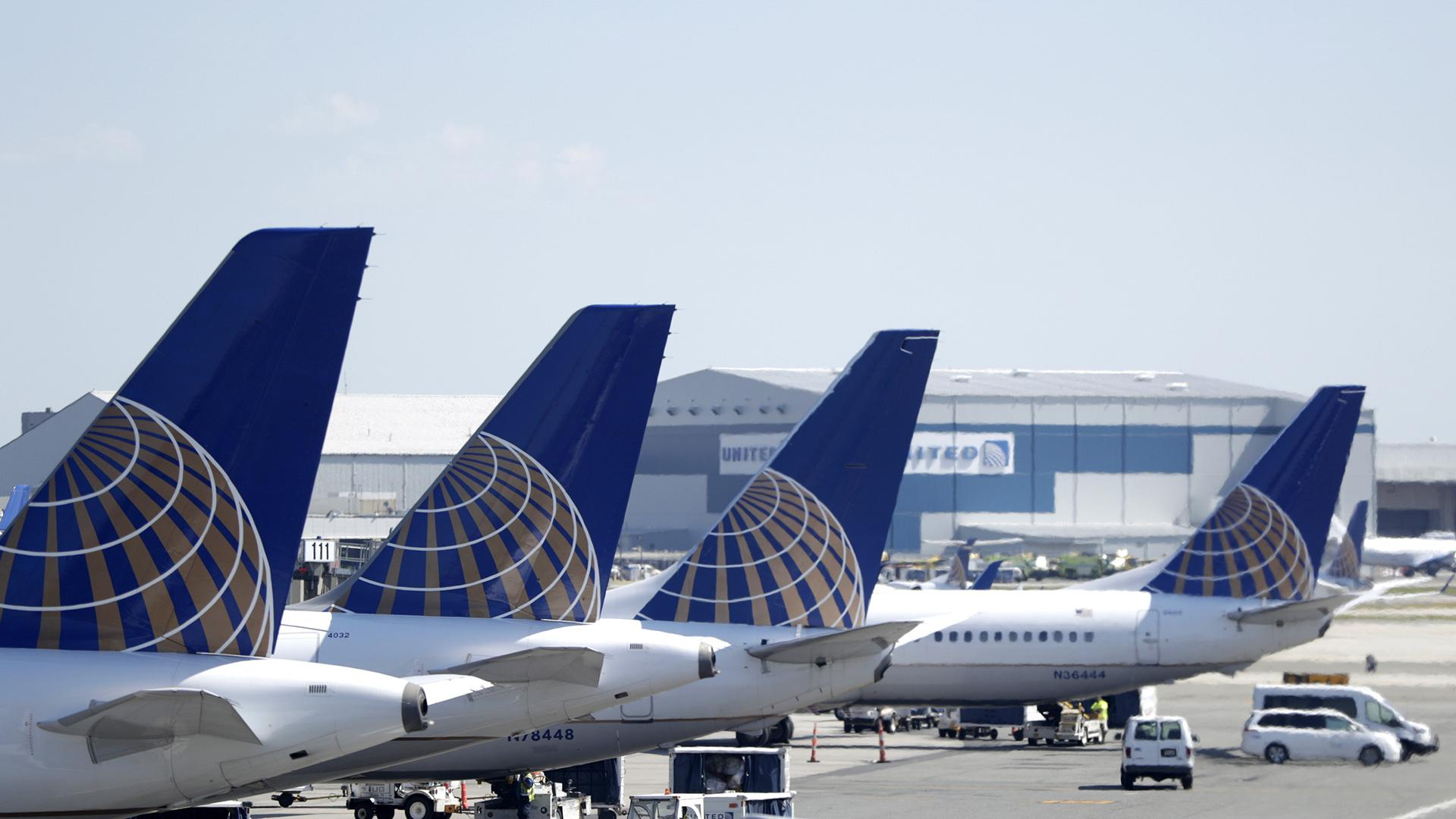 In this July 18, 2018, file photo, United Airlines commercial jets sit at a gate at Terminal C of Newark Liberty International Airport in Newark, N.J. (AP Photo / Julio Cortez, File)