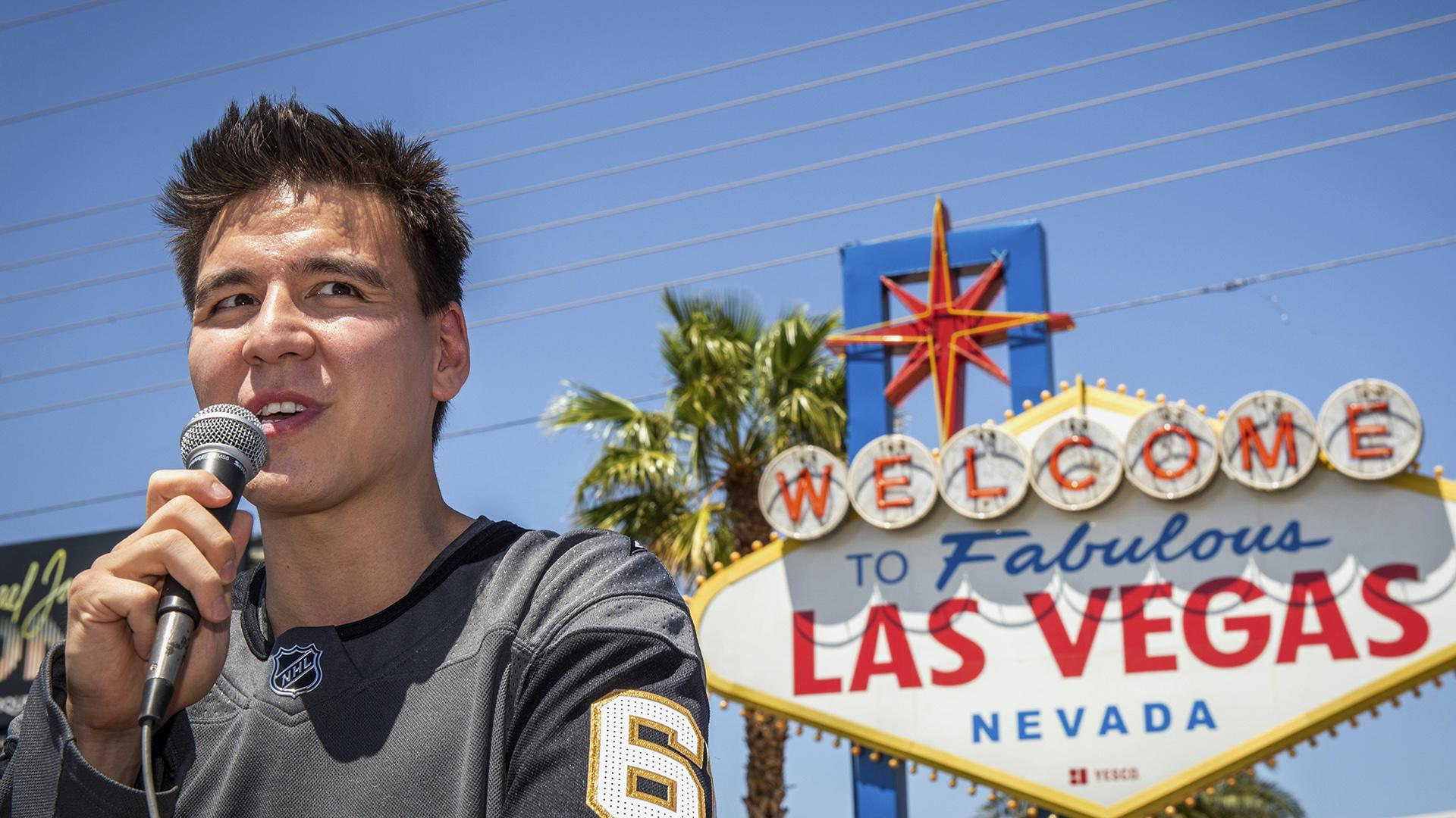 "In this May 2, 2019, file photo, ""Jeopardy!"" sensation James Holzhauer speaks after being presented with a key to the Las Vegas Strip in front of the Welcome to Fabulous Las Vegas sign in Las Vegas. (Caroline Brehman / Las Vegas Review-Journal via AP, File)"