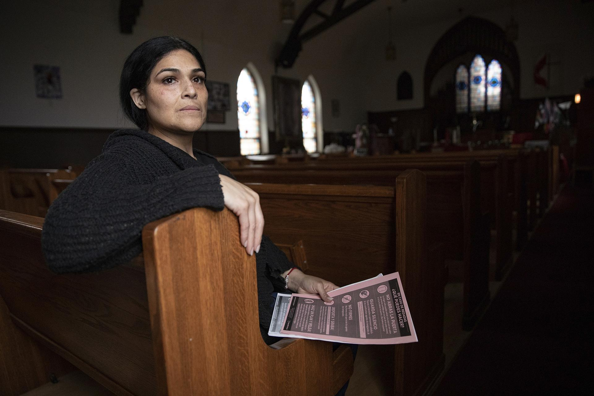 In this Wednesday, June 19, 2019 photo, Cecilia Garcia, member of La Familia Latina Unida and founder of Family Reunification not Deportation, poses for a portrait after an emergency meeting plan of action on how to defend and protect undocumented communities of deportation ahead of President Donald J. Trump's announcement on immigration at Lincoln Methodist Church in Chicago's Pilsen neighborhood. (AP Photo / Amr Alfiky)