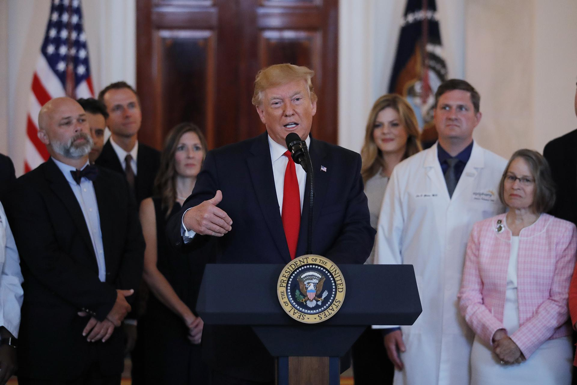 President Donald Trump speaks during a ceremony where he will sign an executive order that calls for upfront disclosure by hospitals of actual prices for common tests and procedures to keep costs down, at the White House in Washington, Monday, June 24, 2019. (AP Photo / Carolyn Kaster)