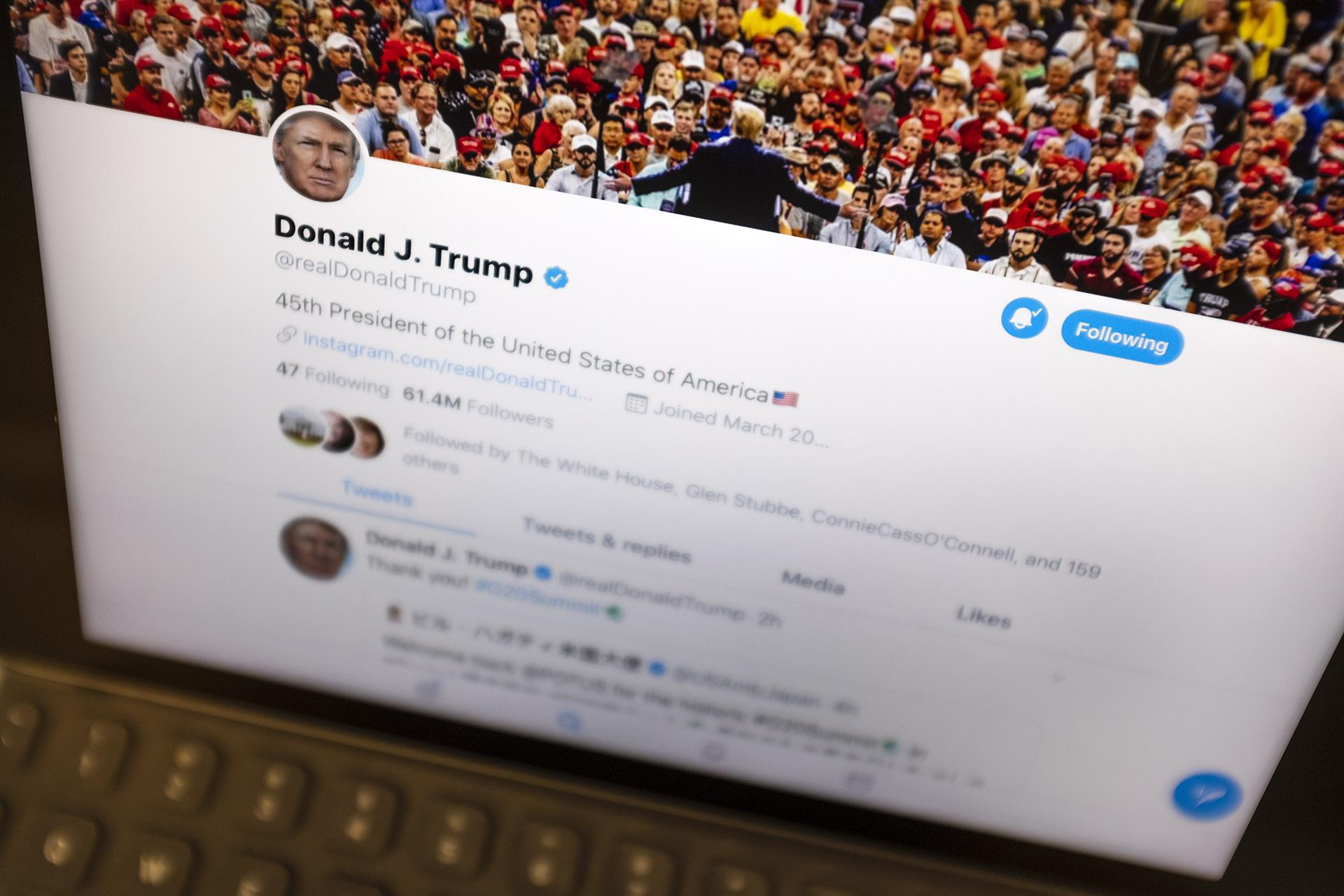 President Donald Trump's Twitter feed is photographed on an Apple iPad in New York, Thursday, June 27, 2019. (AP Photo / J. David Ake)
