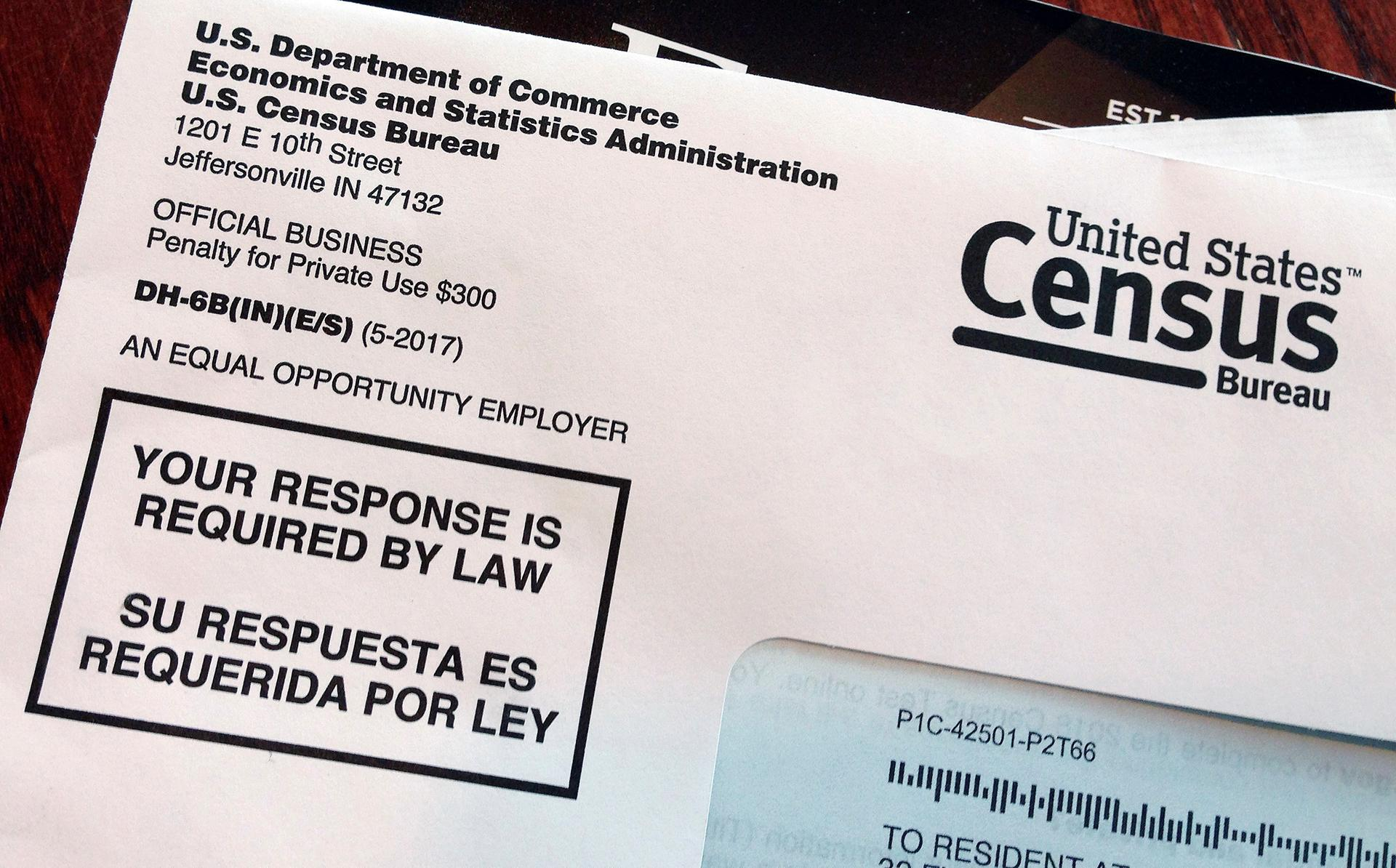 This March 23, 2018, file photo shows an envelope containing a 2018 census letter mailed to a U.S. resident as part of the nation's only test run of the 2020 Census. Legal wrangling has surrounded the U.S. census count for decades, culminating in this year's fight over adding a citizenship question. (AP Photo / Michelle R. Smith, File)