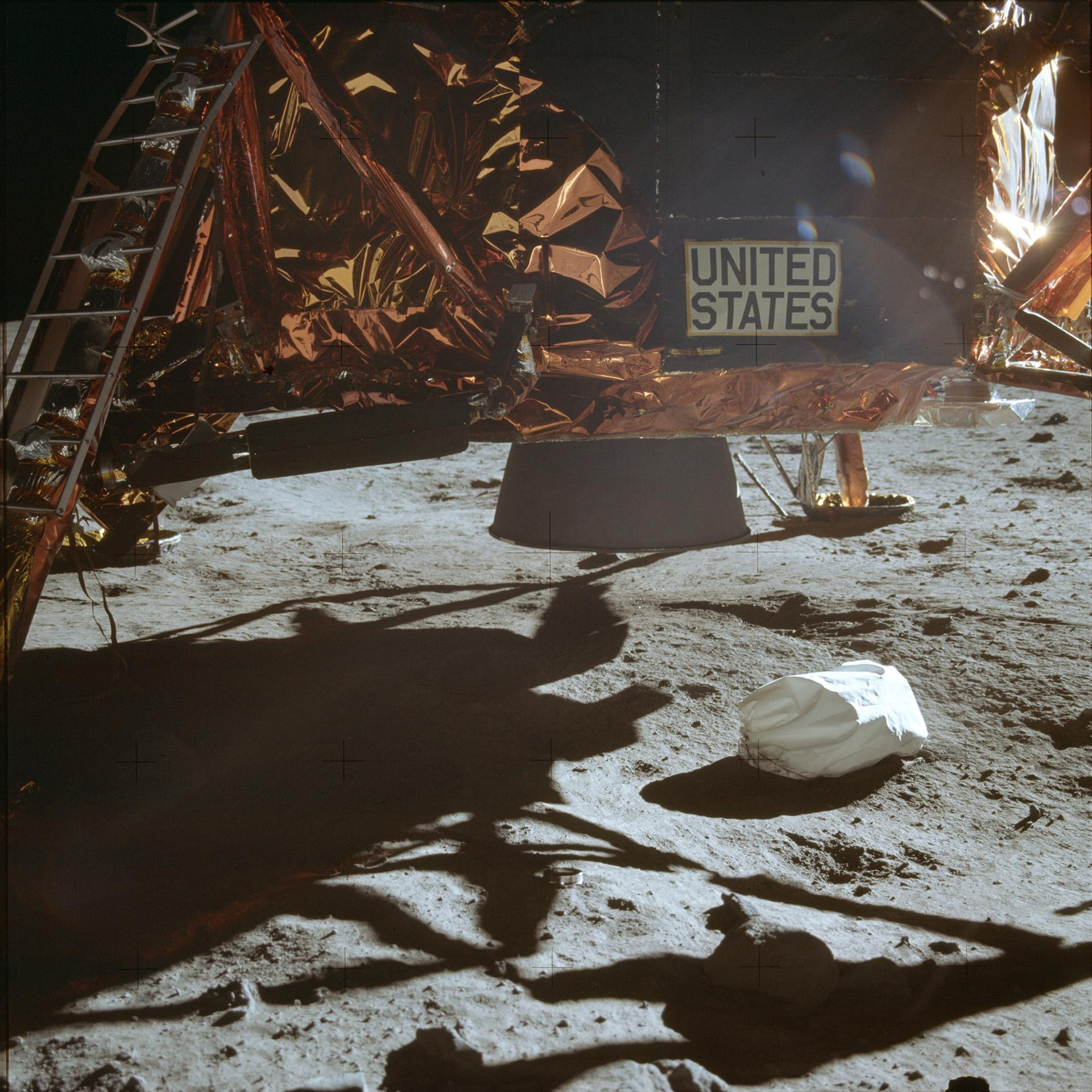 This July 20, 1969 photo made available by NASA shows the Lunar Module descent stage and area of soil beneath. (NASA via AP)