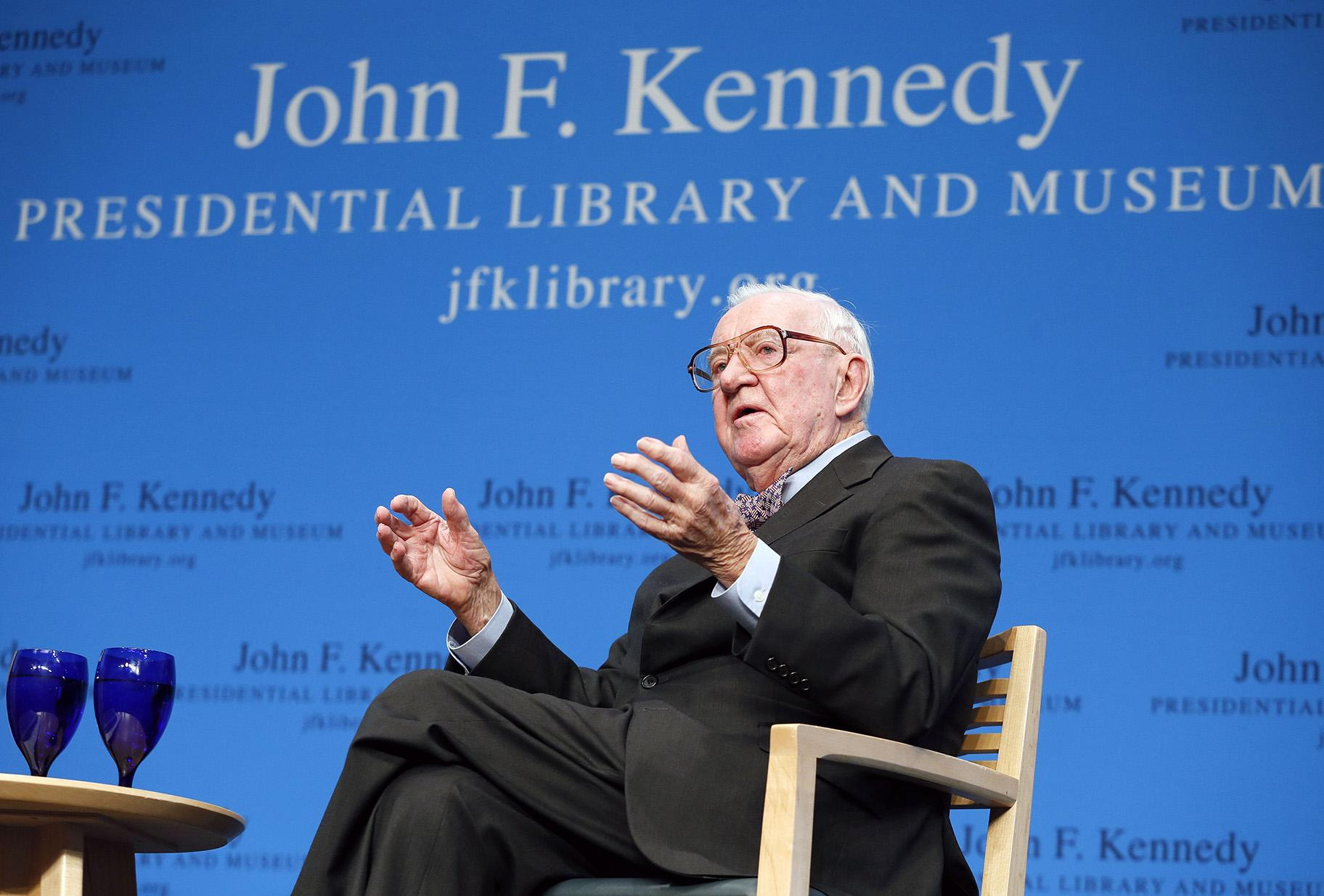 In this May 20, 2013 file photo, retired U.S. Supreme Court Justice John Paul Stevens talks about his views and career during a forum at the John F. Kennedy Library in Boston. (AP Photo / Michael Dwyer, File)