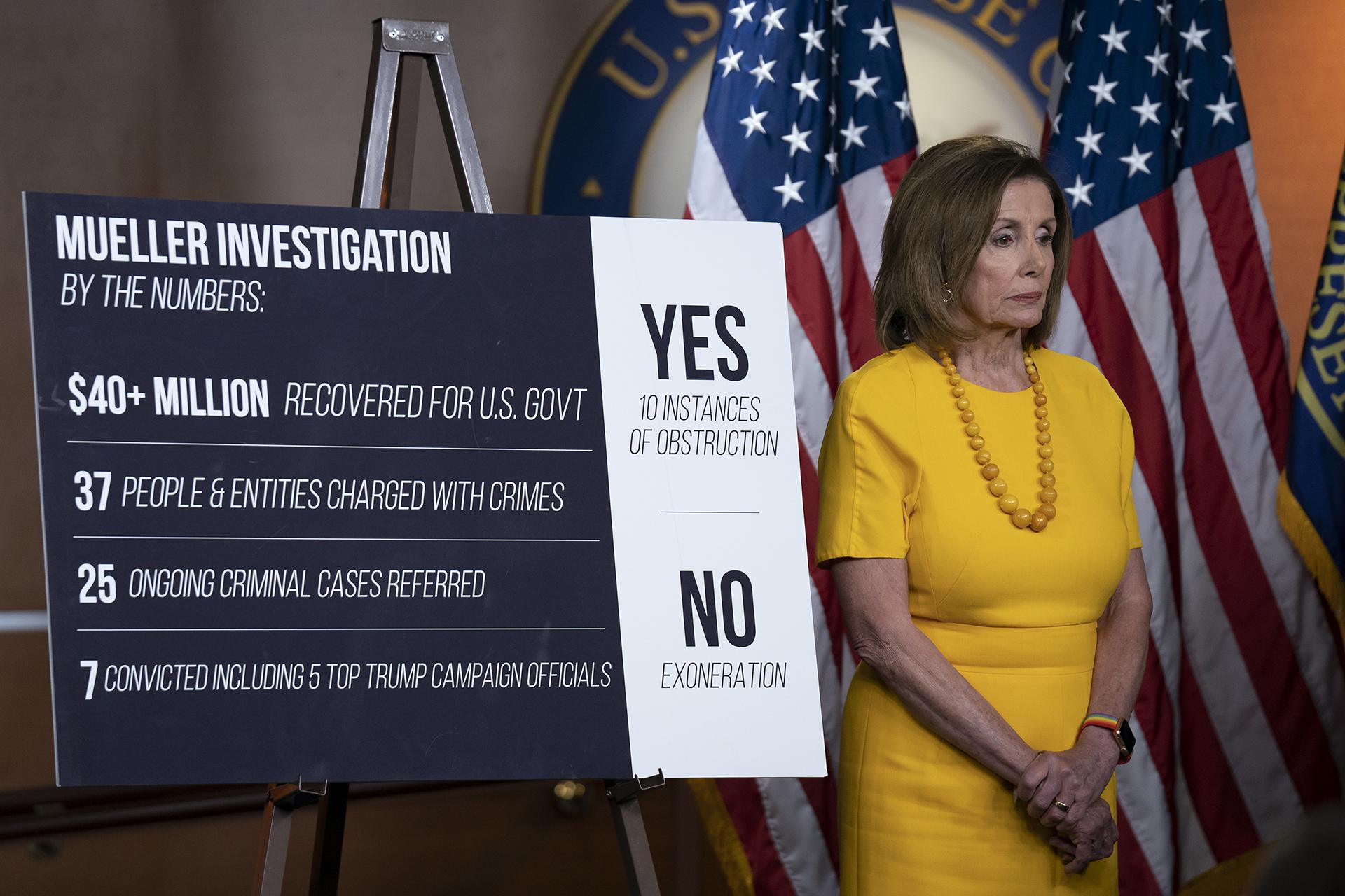Speaker of the House Nancy Pelosi, D-California, stands beside a chart during a news conference following the back-to-back hearings with former special counsel Robert Mueller who testified about his investigation into Russian interference in the 2016 election, on Capitol Hill in Washington, Wednesday, July 24, 2019. (AP Photo / J. Scott Applewhite)