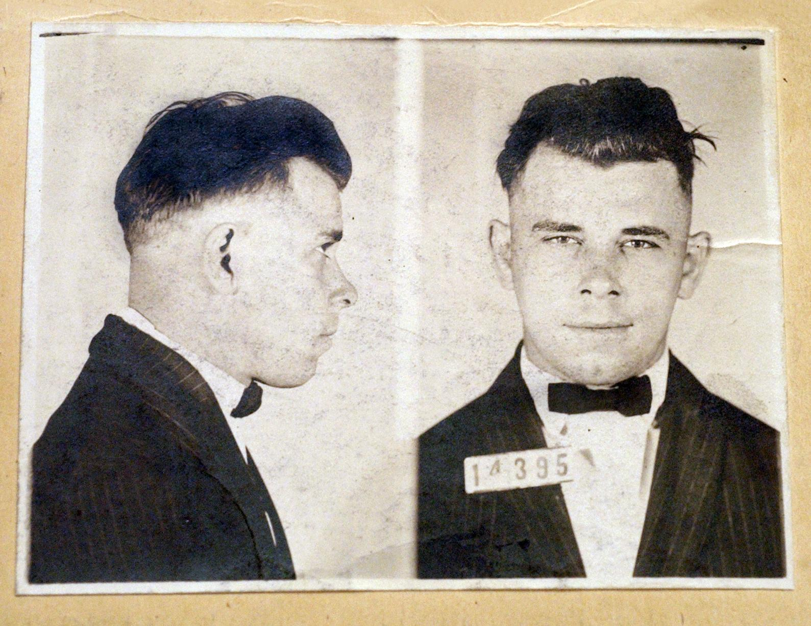This file photo shows Indiana Reformatory booking shots of John Dillinger, stored in the state archives, and shows the notorious gangster as a 21-year-old. (AP Photo / The Indianapolis Star, Charlie Nye, File)
