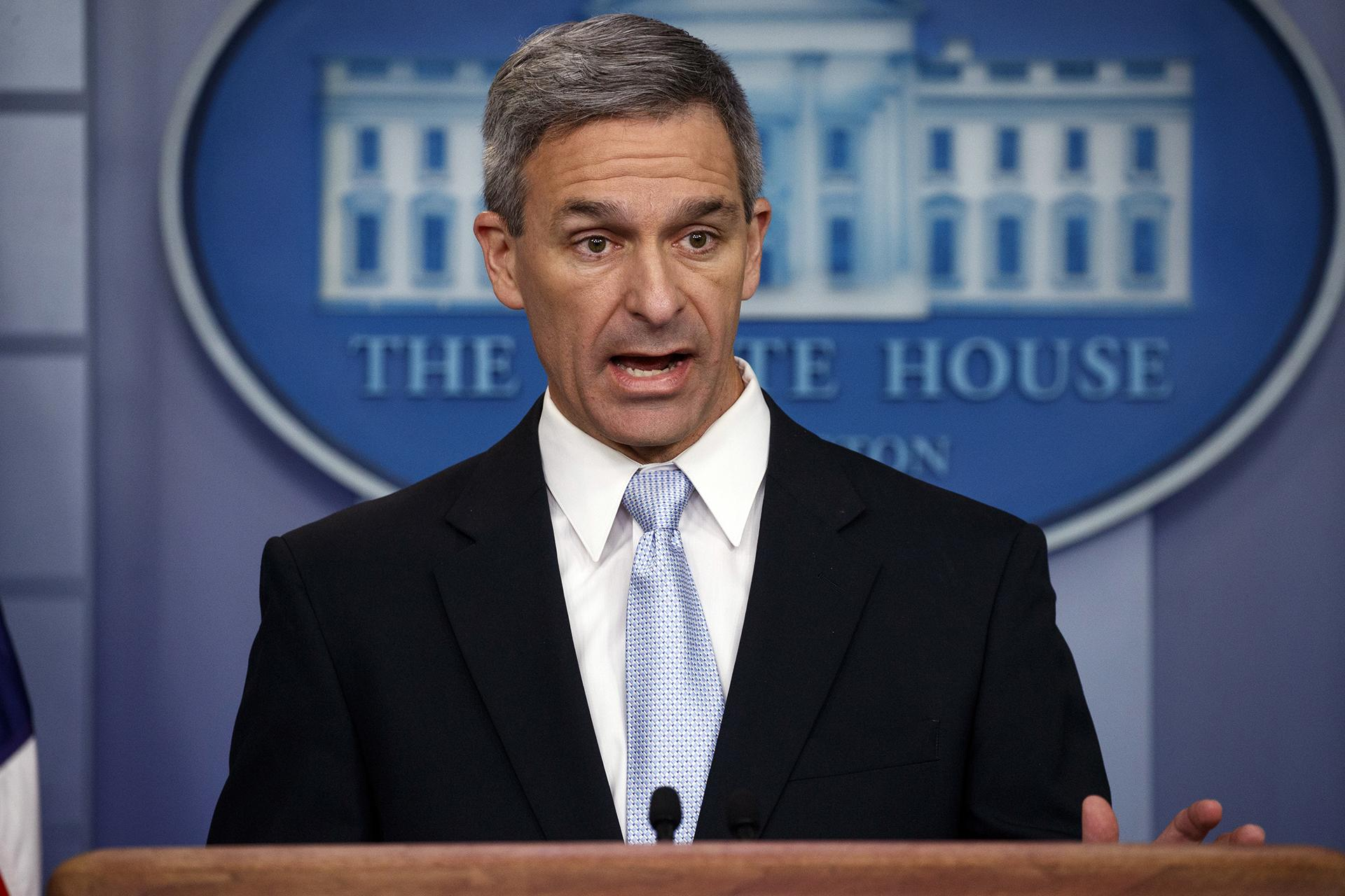Acting Director of United States Citizenship and Immigration Services Ken Cuccinelli, speaks during a briefing at the White House, Monday, Aug. 12, 2019, in Washington. (AP Photo / Evan Vucci)