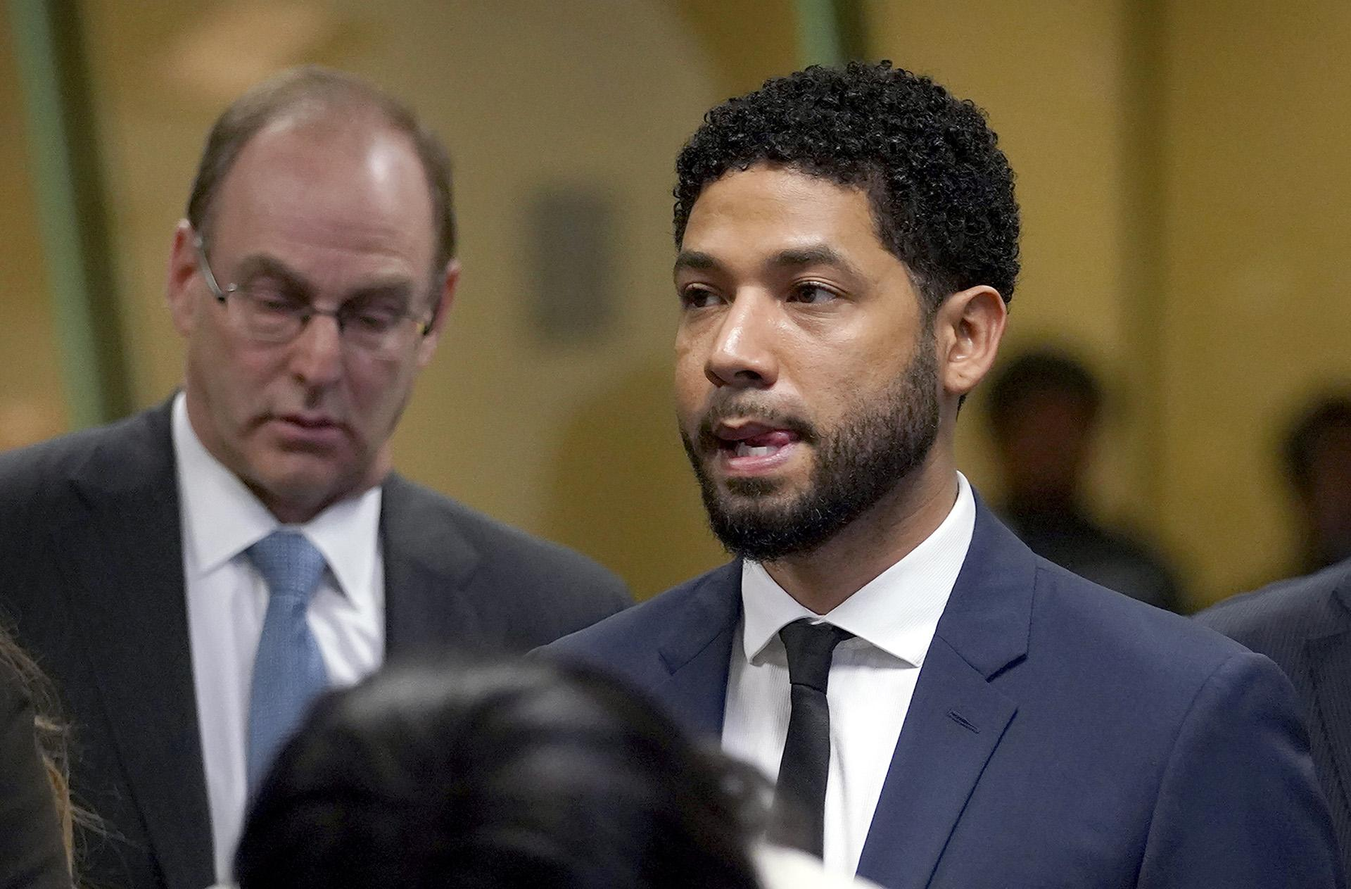 "In this March 14, 2019 file photo, ""Empire"" actor Jussie Smollett, stands before Cook County Circuit Court Judge Steven Watkins where he pled not guilty at the Leighton Criminal Court Building, in Chicago.  (E. Jason Wambsgans / Chicago Tribune via AP, Pool)"