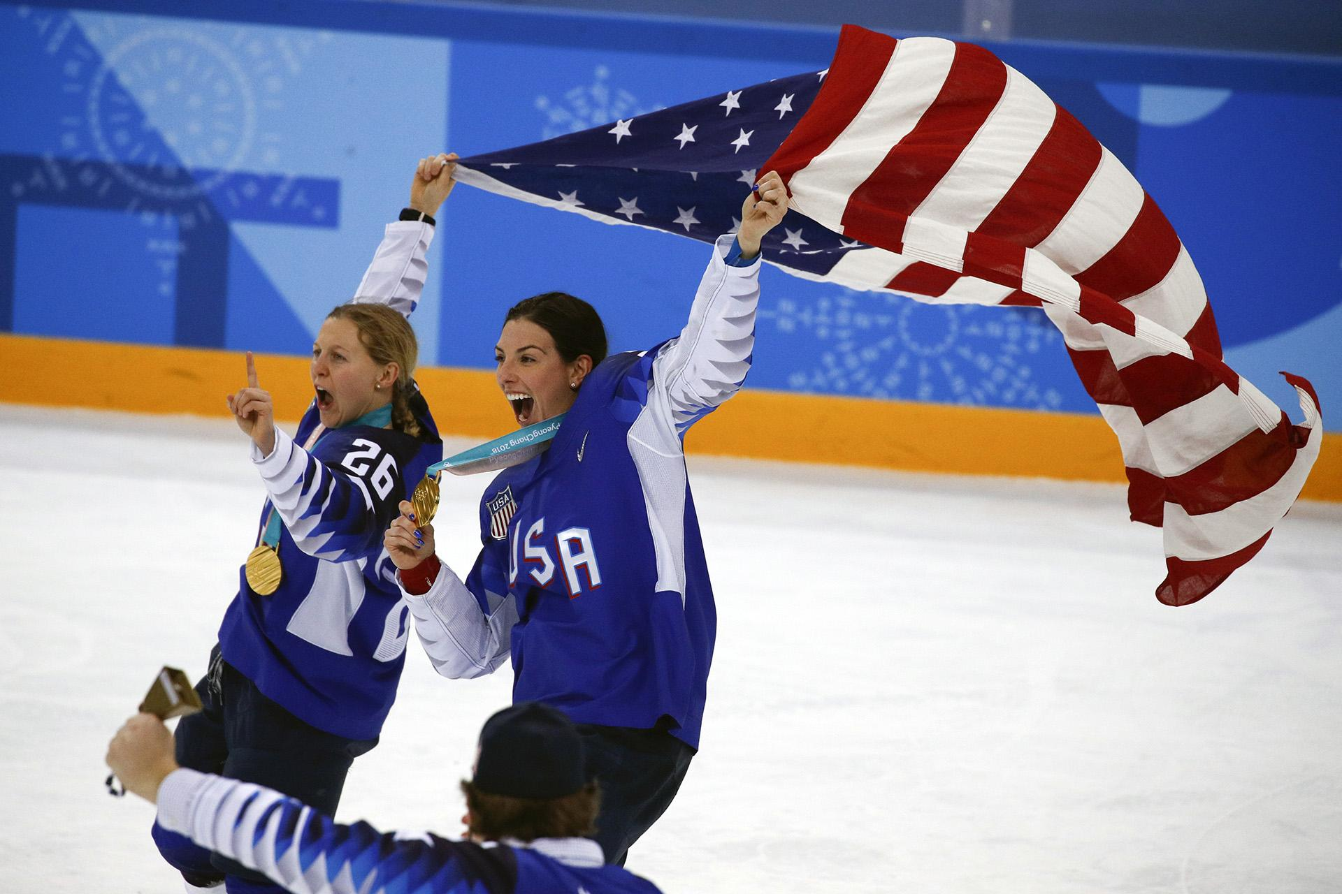 In this Feb. 22, 2018, file photo, United States' Kendall Coyne Schofield, left, and Hilary Knight celebrate after winning the women's gold medal hockey game against Canada at the 2018 Winter Olympics in Gangneung, South Korea. (AP Photo / Jae C. Hong, File)