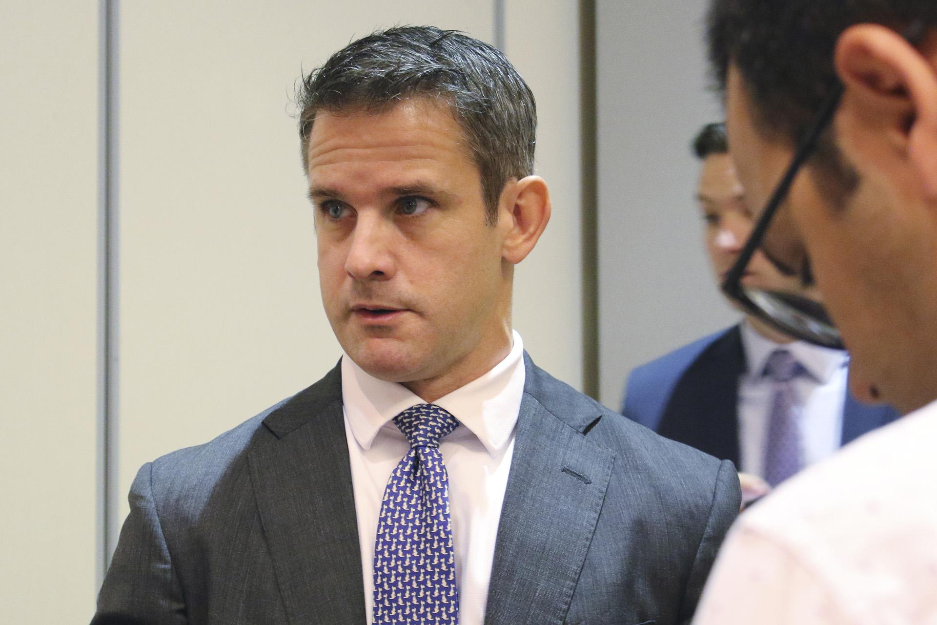 Rep. Adam Kinzinger R-Ill., speaks to reporters after attending an event Thursday, Oct. 3, 2019, in Chicago. (AP Photo / Noreen Nasir)