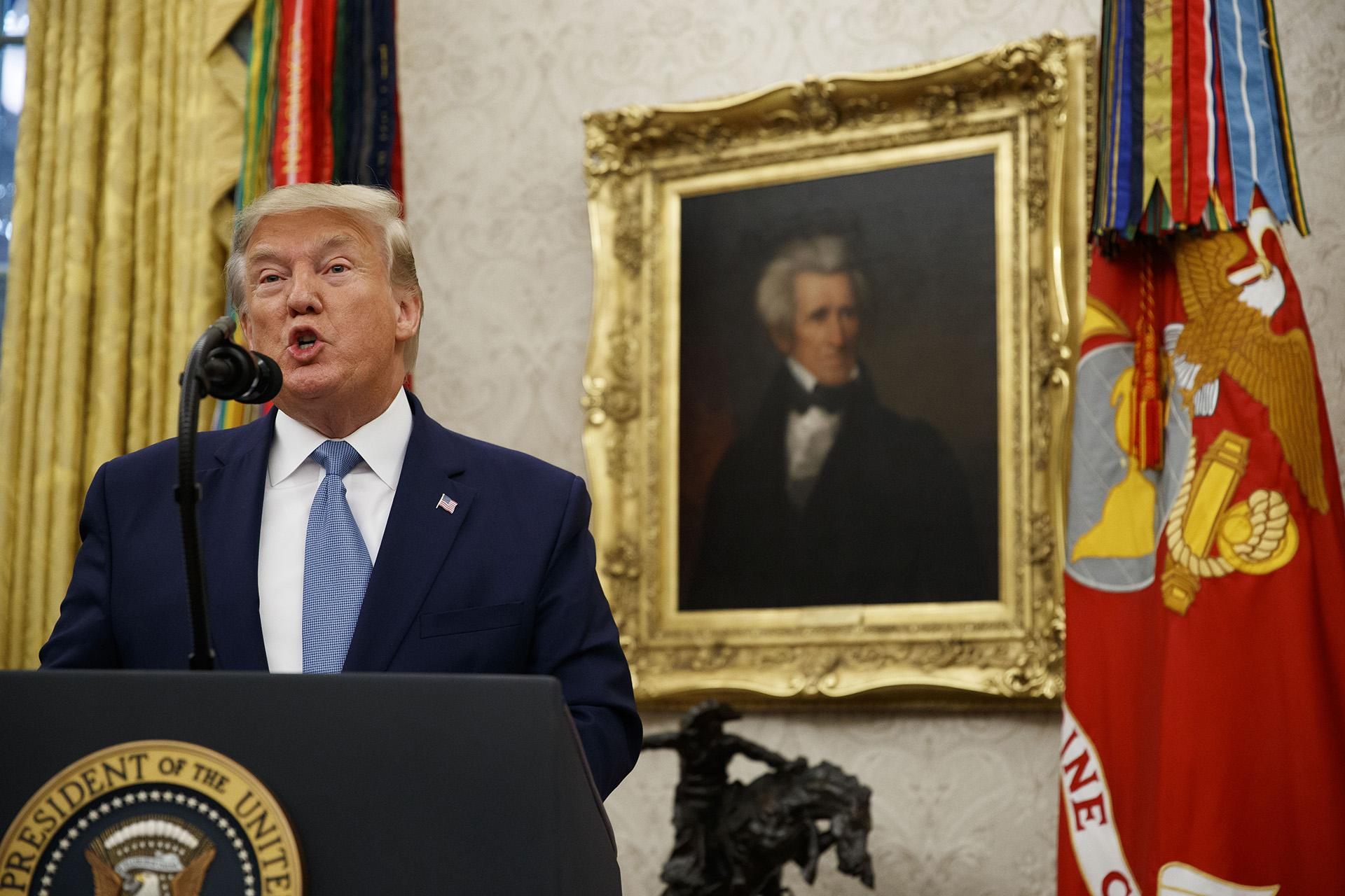 President Donald Trump speaks during a ceremony to present the Presidential Medal of Freedom to former Attorney General Edwin Meese, in the Oval Office of the White House, Tuesday, Oct. 8, 2019, in Washington. (AP Photo / Alex Brandon)