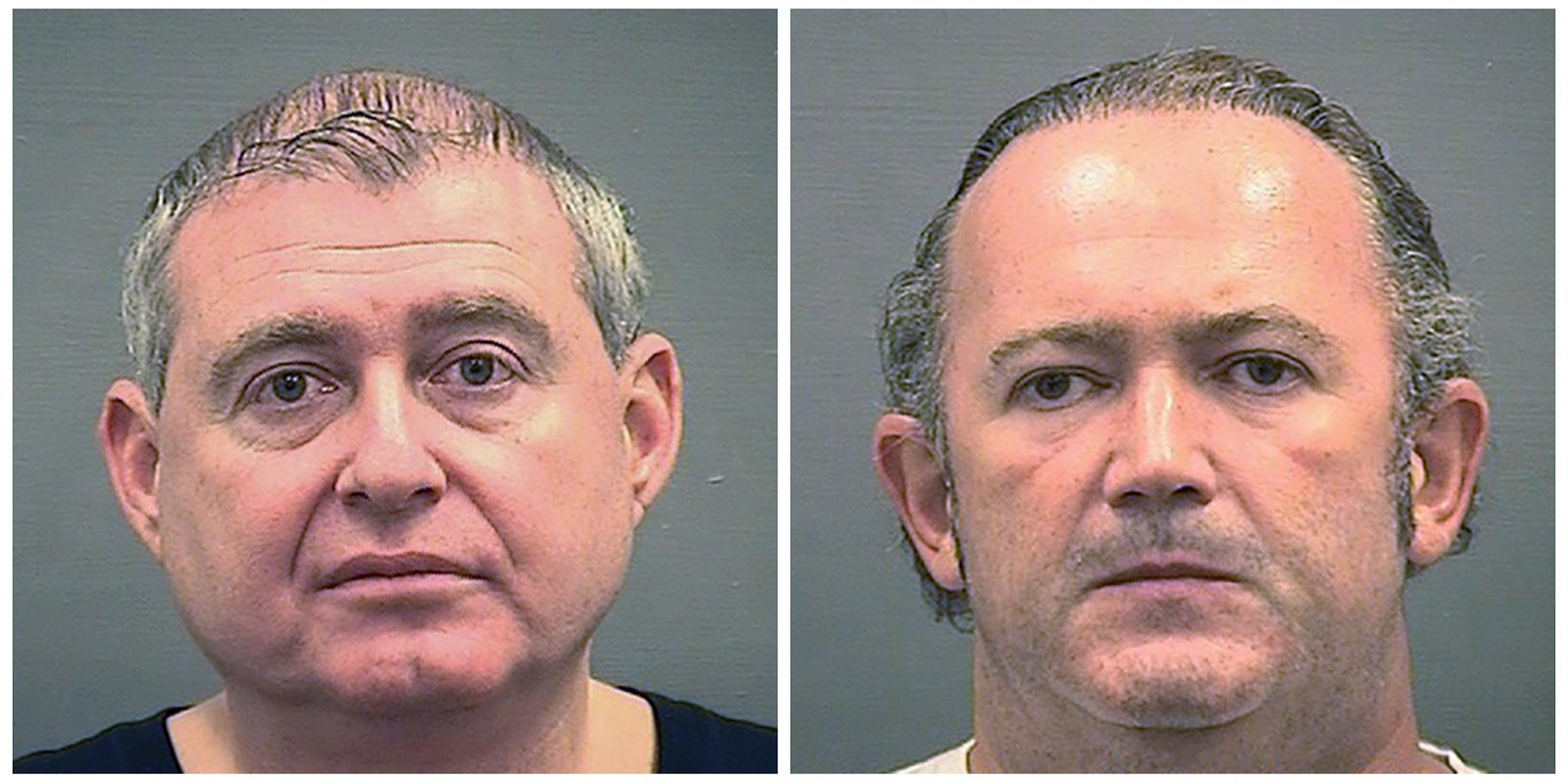 This combination of photos provided by the Alexandria Sheriff's Office shows booking photos of Lev Parnas, left, and Igor Fruman. (Alexandria Sheriff's Office via AP)