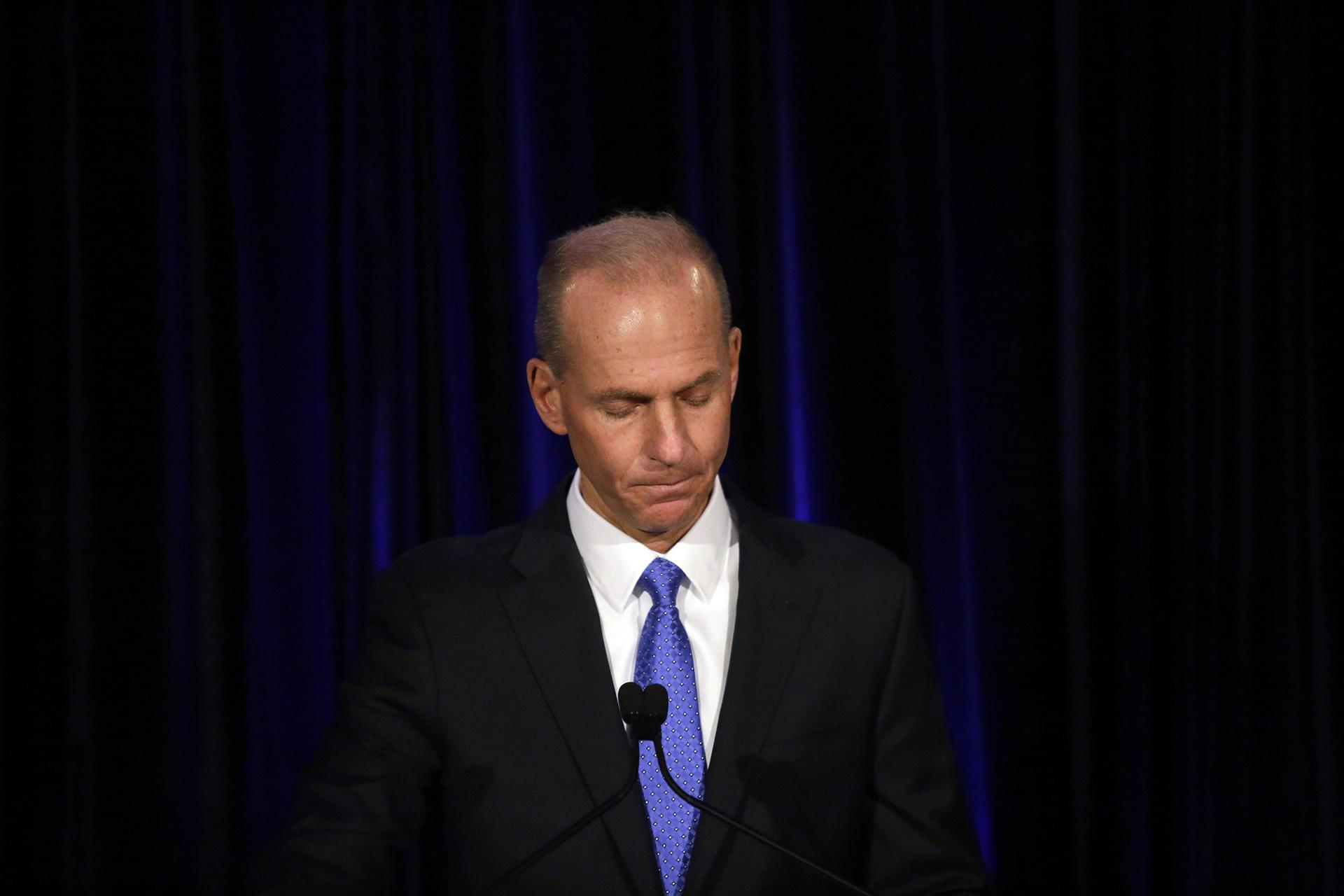 In this April 29, 2019, file pool photo Boeing Chief Executive Dennis Muilenburg speaks at a news conference after company's annual shareholders meeting at the Field Museum in Chicago. (Joshua Lott / The Washington Post via AP, Pool, File)