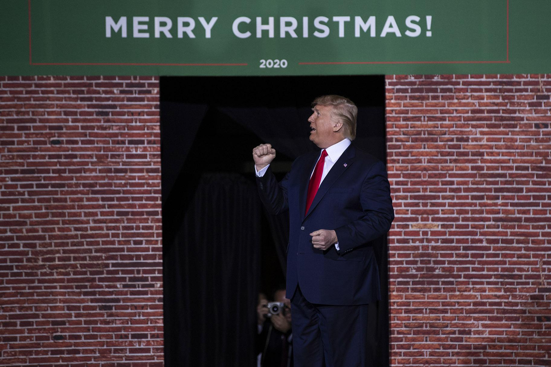In this Wednesday, Dec. 18, 2019 file photo, President Donald Trump speaks during a campaign rally at Kellogg Arena, Wednesday, Dec. 18, 2019, in Battle Creek, Mich. (AP Photo / Evan Vucci, File)
