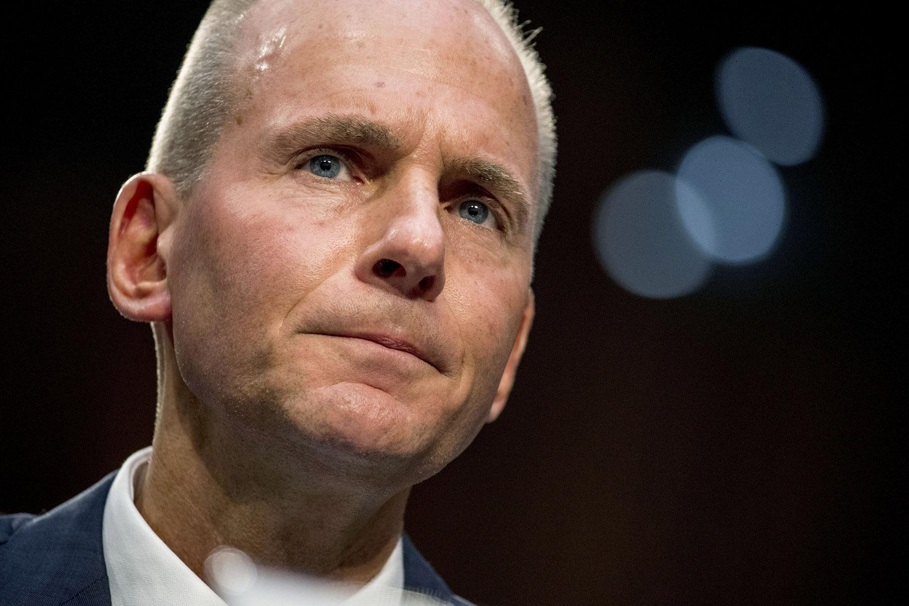 "In this Oct. 29, 2019, file photo Boeing Company President and Chief Executive Officer Dennis Muilenburg appears before a Senate Committee on Commerce, Science, and Transportation hearing on ""Aviation Safety and the Future of Boeing's 737 MAX"" on Capitol Hill in Washington. (AP Photo / Andrew Harnik, File)"