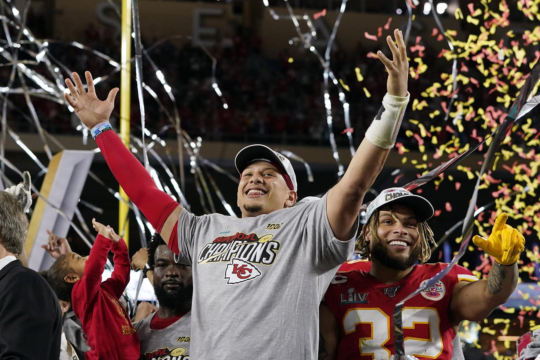 Kansas City Chiefs' Patrick Mahomes, left, and Tyrann Mathieu celebrate after defeating the San Francisco 49ers in the NFL Super Bowl 54 football game Sunday, Feb. 2, 2020, in Miami Gardens, Fla. (AP Photo / David J. Phillip)