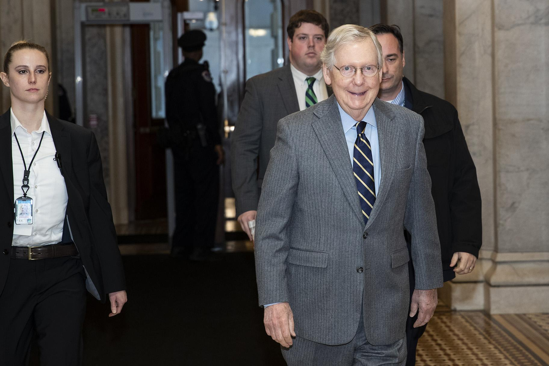 Senate Majority Leader Mitch McConnell of Kentucky, arrives on Capitol Hill, Monday, Feb. 3, 2020 in Washington. (AP Photo / Alex Brandon)