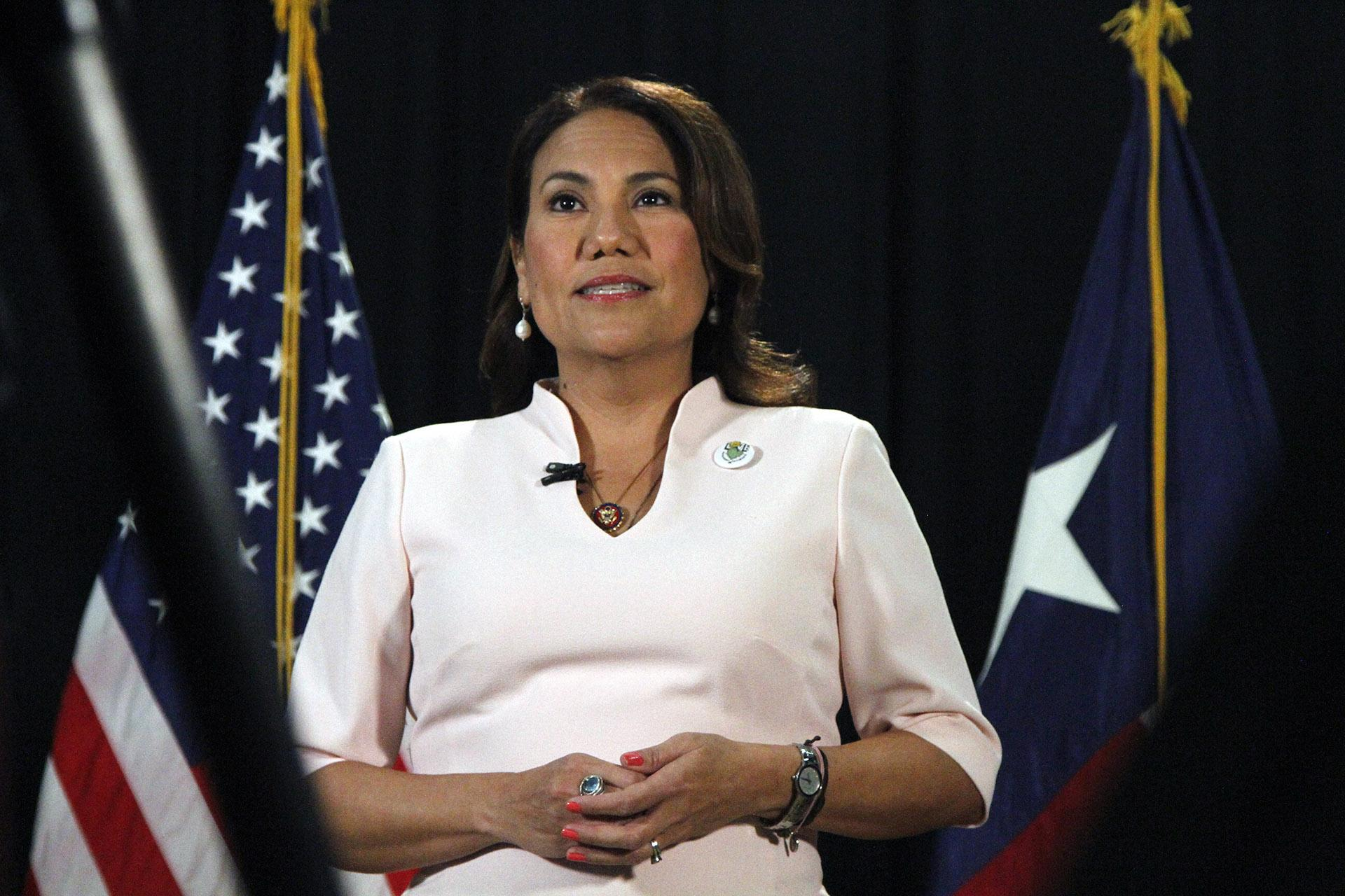 Rep. Veronica Escobar, D-Texas, speaks as she records a Spanish-language response to President Donald Trump's State of the Union address on Tuesday, Feb. 4, 2020, in El Paso, Texas. (AP Photo / Cedar Attanasio)
