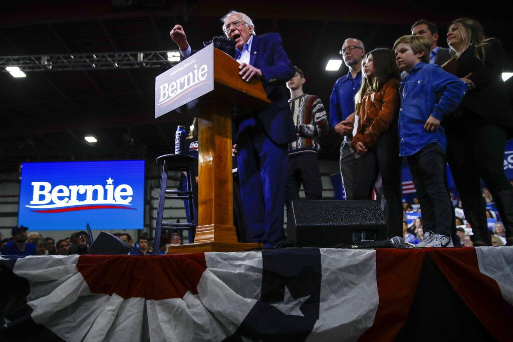 Democratic presidential candidate Sen. Bernie Sanders, I-Vt., accompanied by his wife Jane O'Meara Sanders and other family members, speaks during a primary night election rally in Essex Junction, Vt., Tuesday, March 3, 2020. (AP Photo / Matt Rourke)